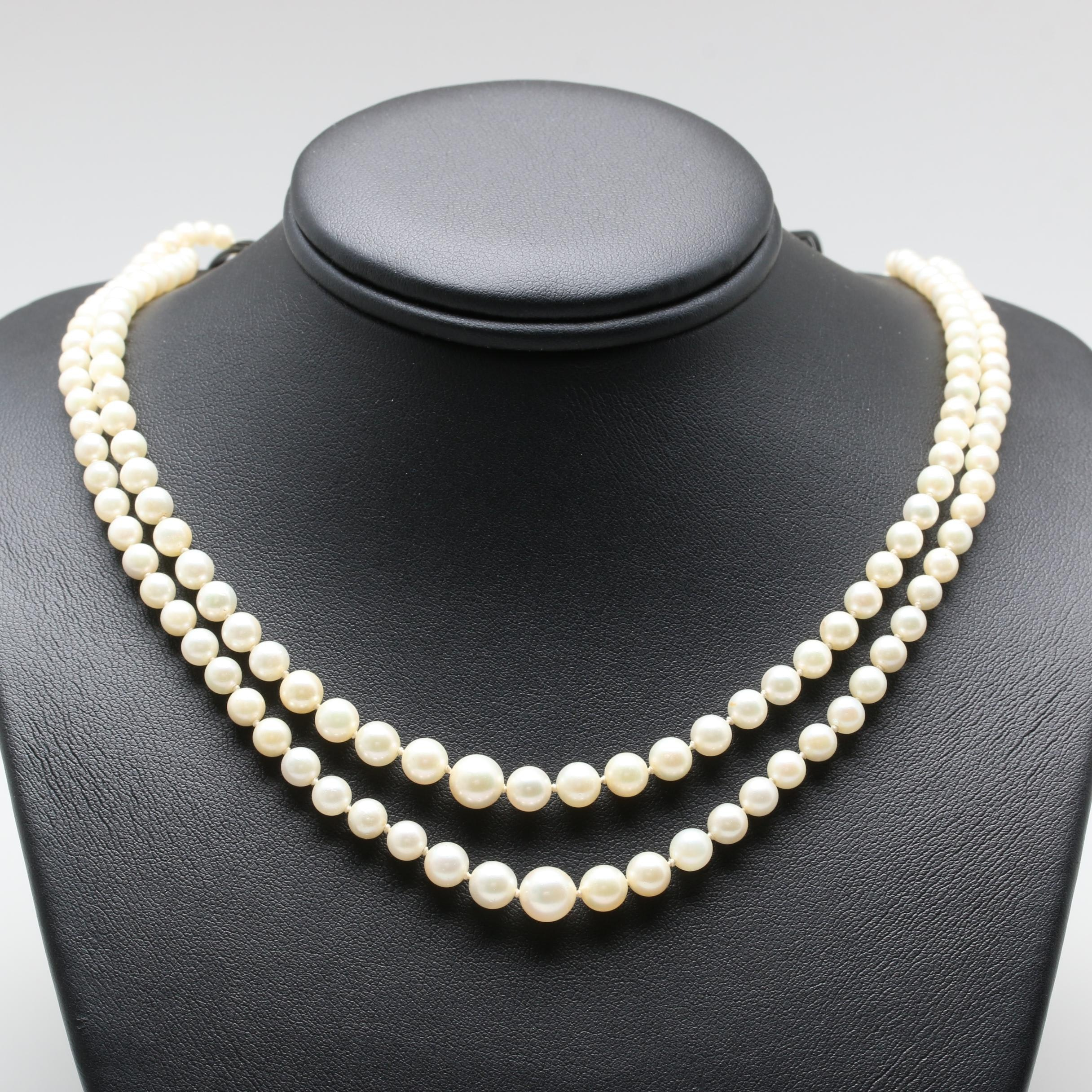 Circa 1940s Sterling Silver Cultured Pearl Necklace