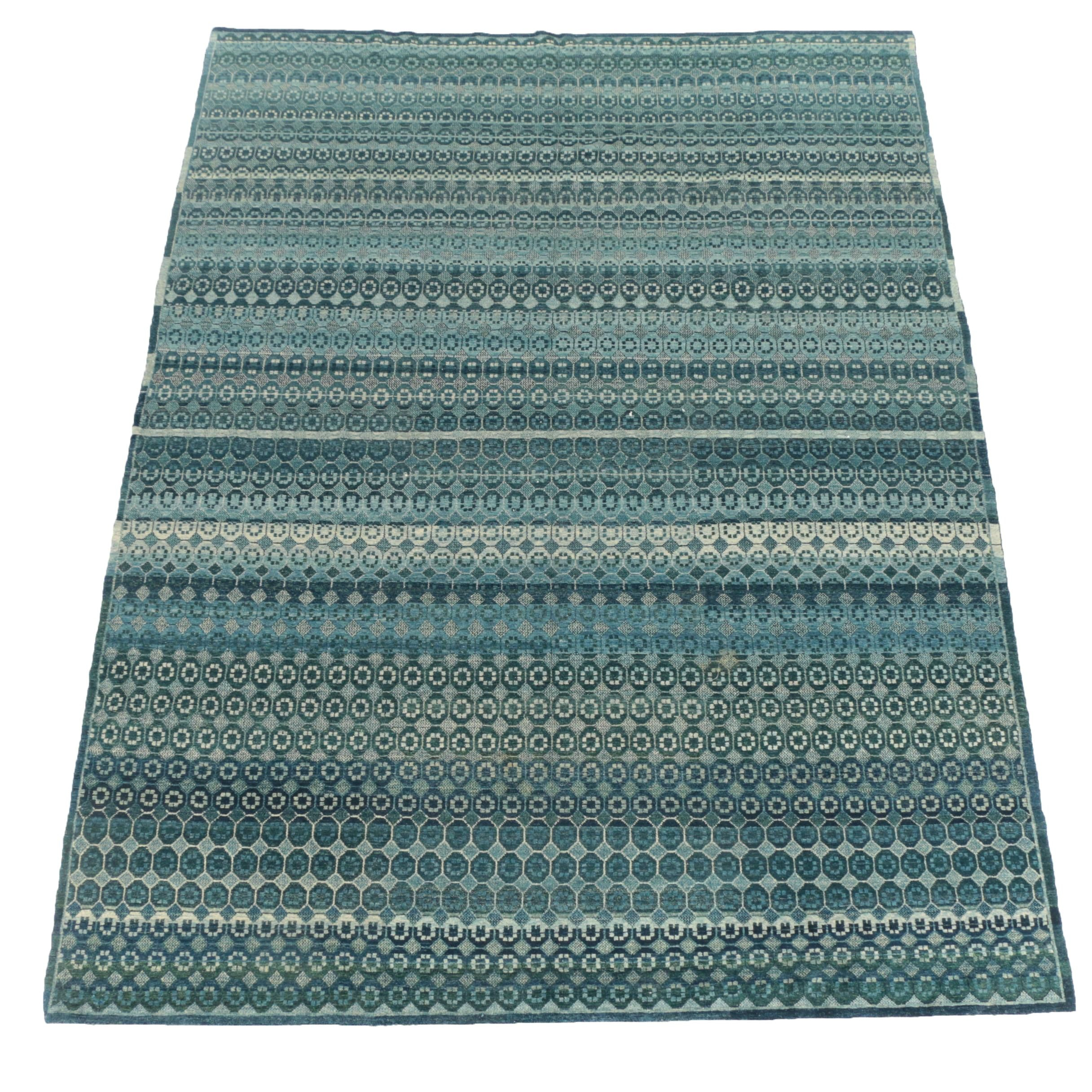 Contemporary Hand-Knotted Indigo Wool Area Rug
