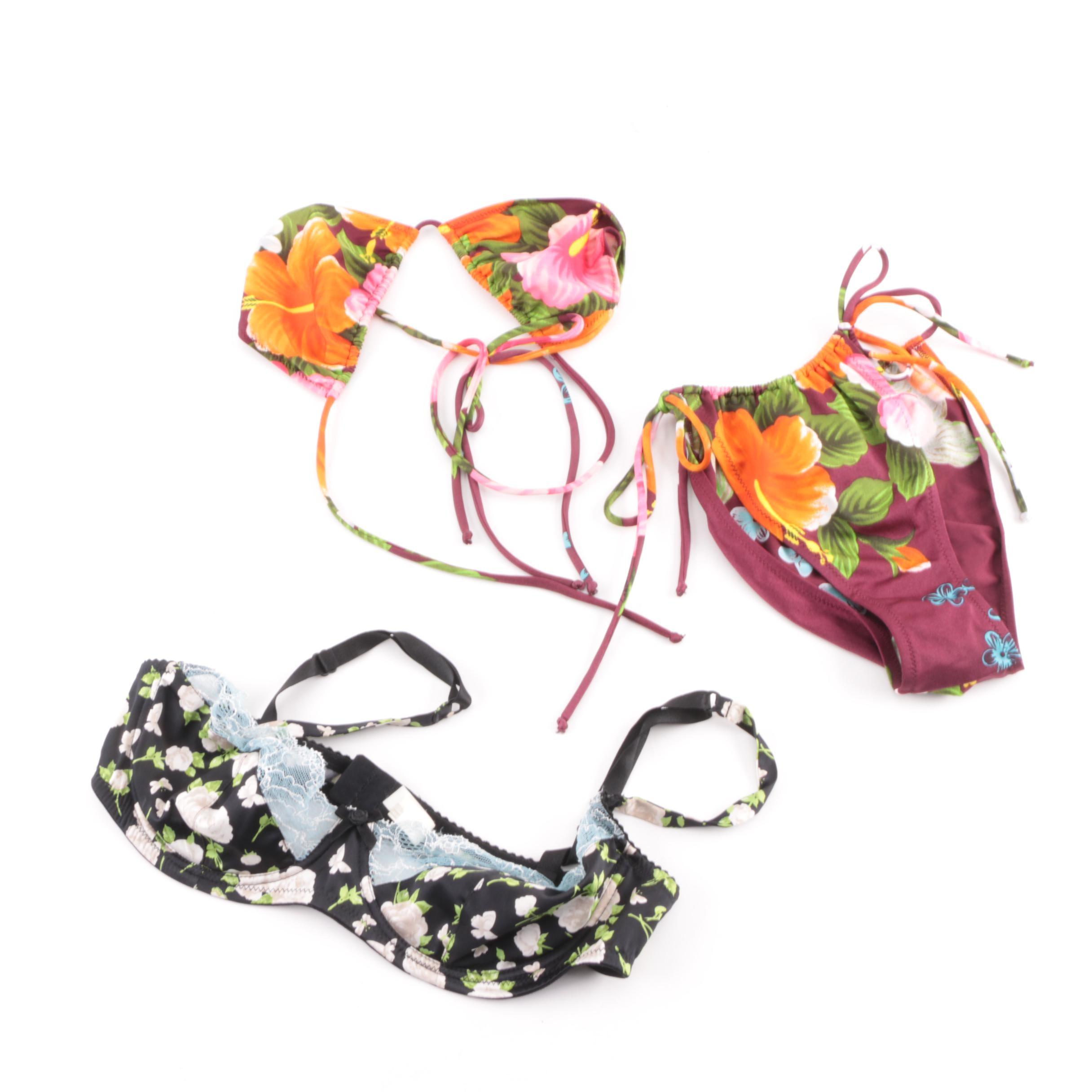 Dolce & Gabbana Floral String Bikini and Bra