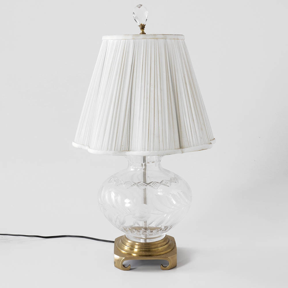 Cut Glass and Brass Lamp with Scalloped Shade