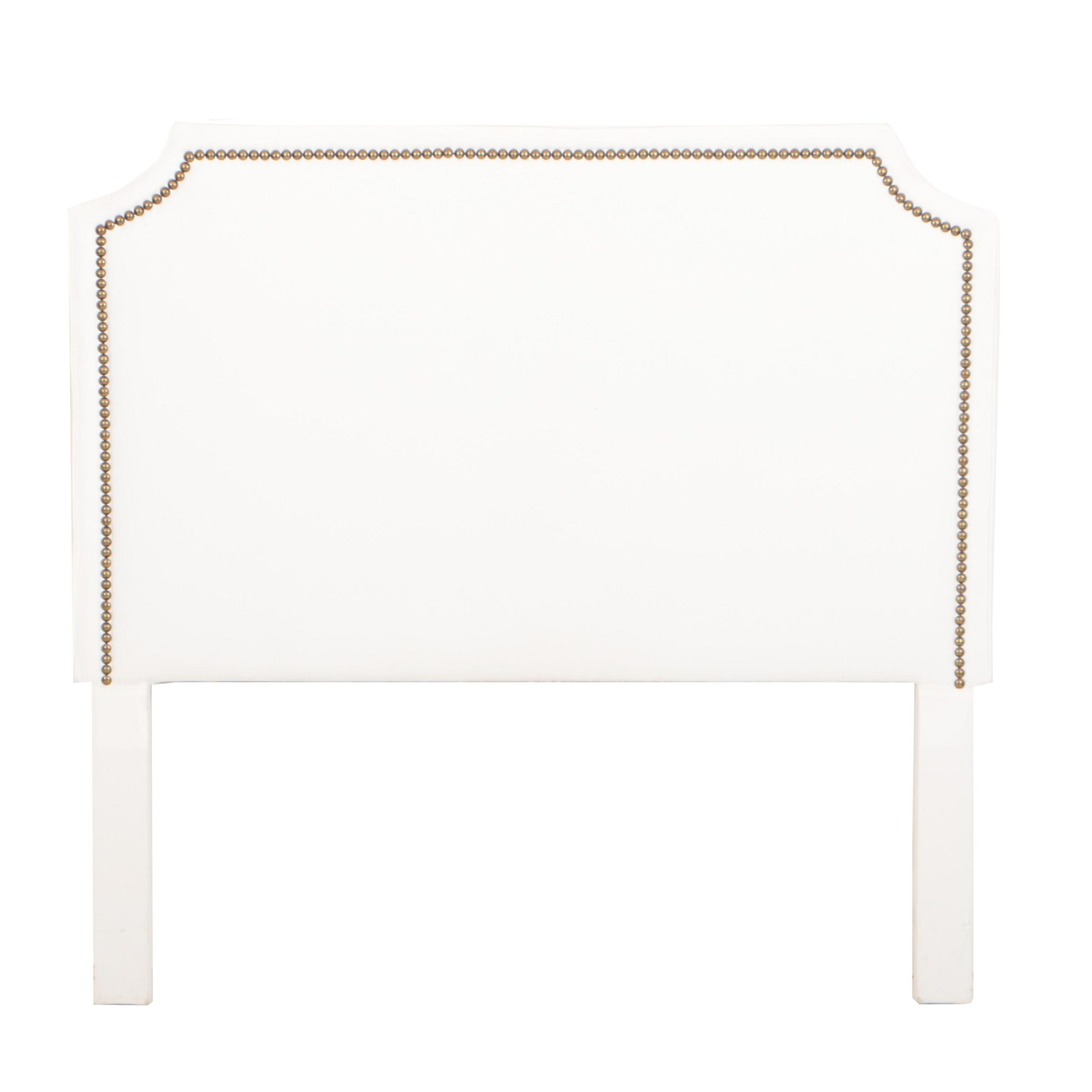 White Upholstered Headboard with Nail Head Trim