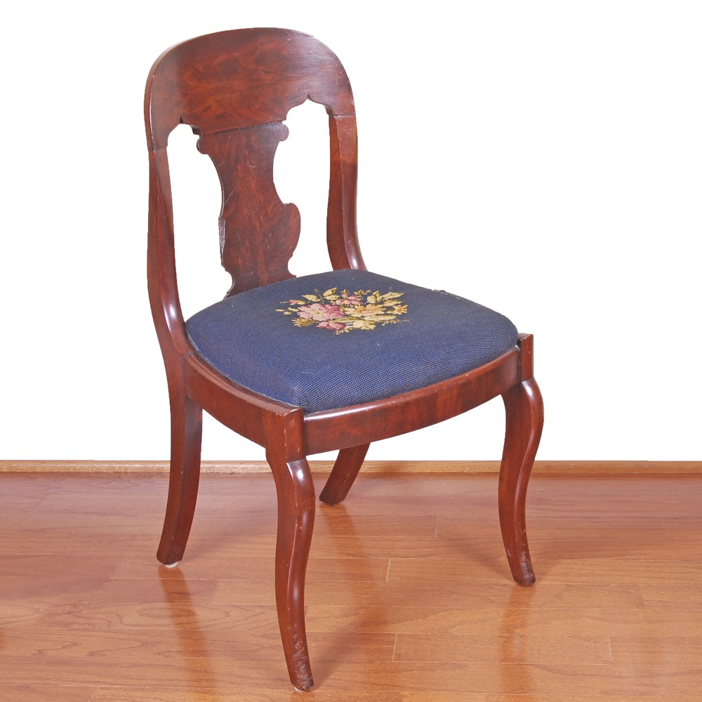 Vintage Duncan Phyfe Style Mahogany Side Chair with Needlepoint Seat
