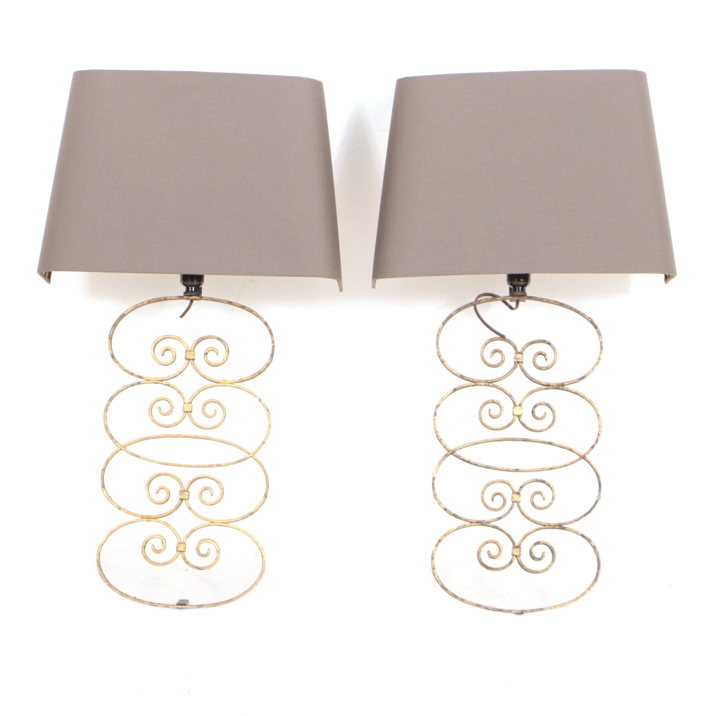Scrolled Metal Wall Sconces with Custom Silk Shades
