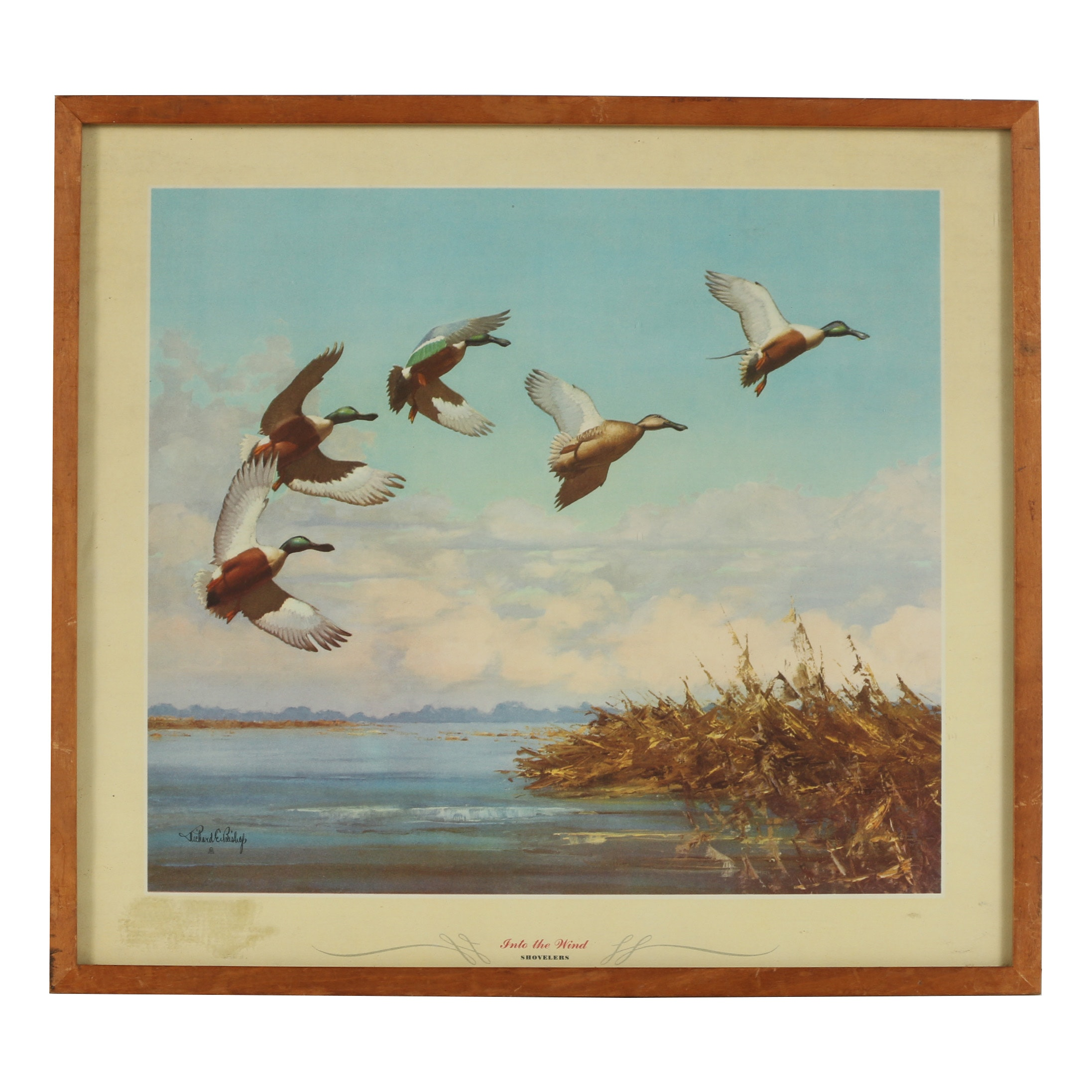 "Offset Lithograph after Richard E. Bishop ""Into the Wind (Shovelers)"""