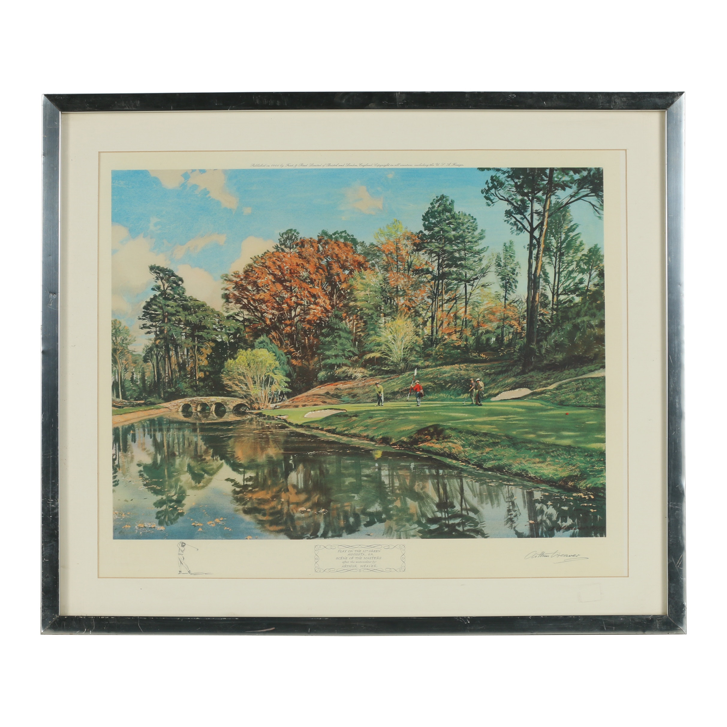 """Arthur Weaver Collotype """"Play on the 12th Green"""""""
