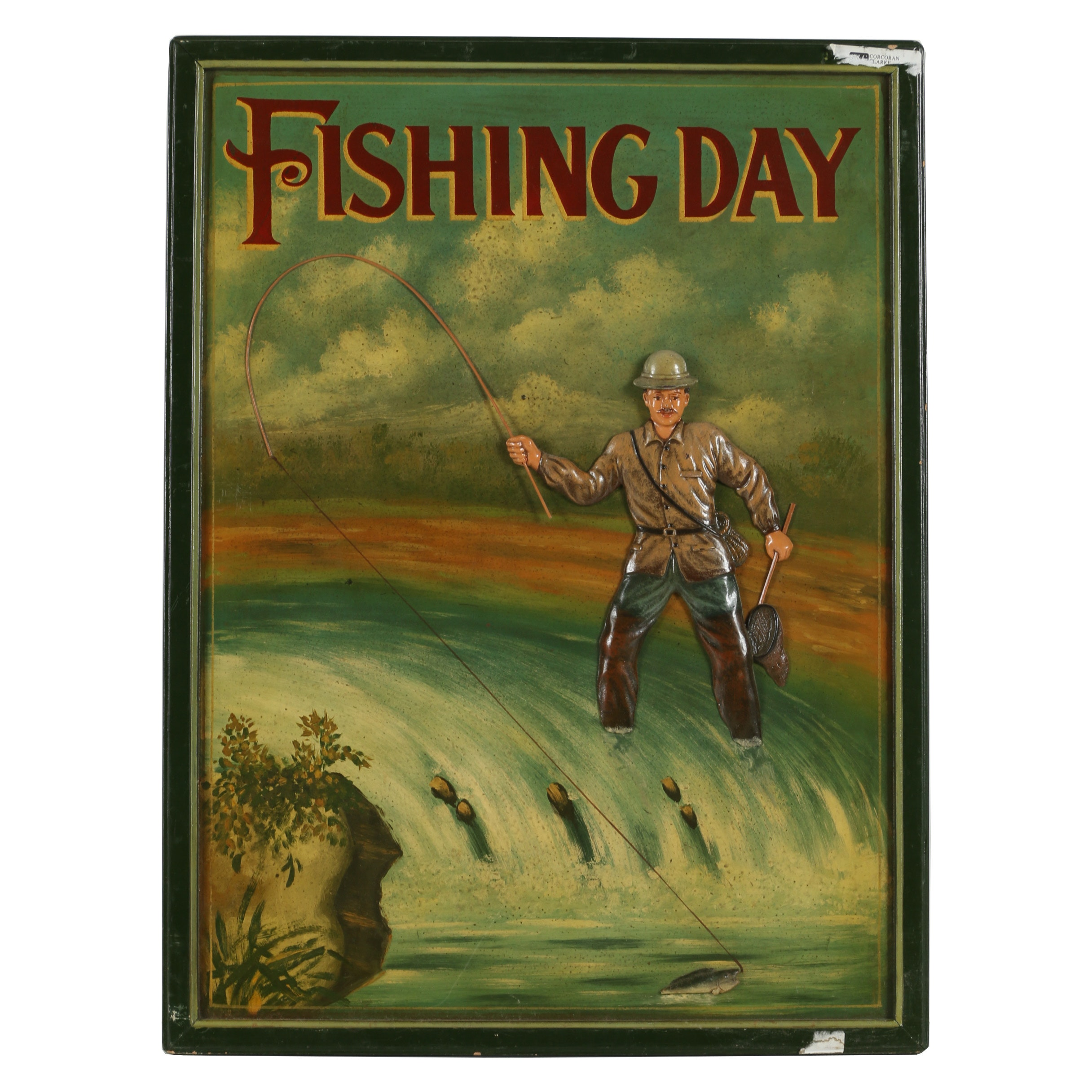 """Vintage Mixed Media Dimensional Painted Sign """"Fishing Day"""""""
