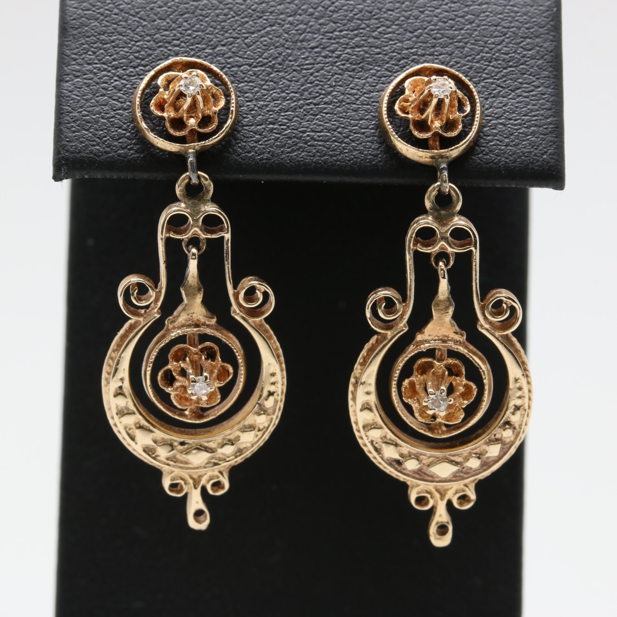 Victorian 14K Yellow Gold Diamond Earrings
