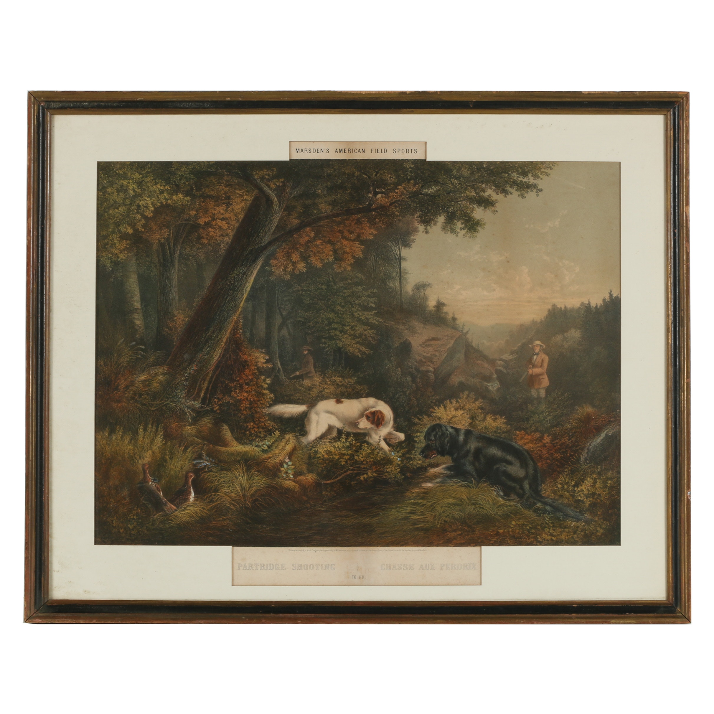 "Marsden's American Field Sports Hand-Colored Lithograph ""Partridge Shooting"""