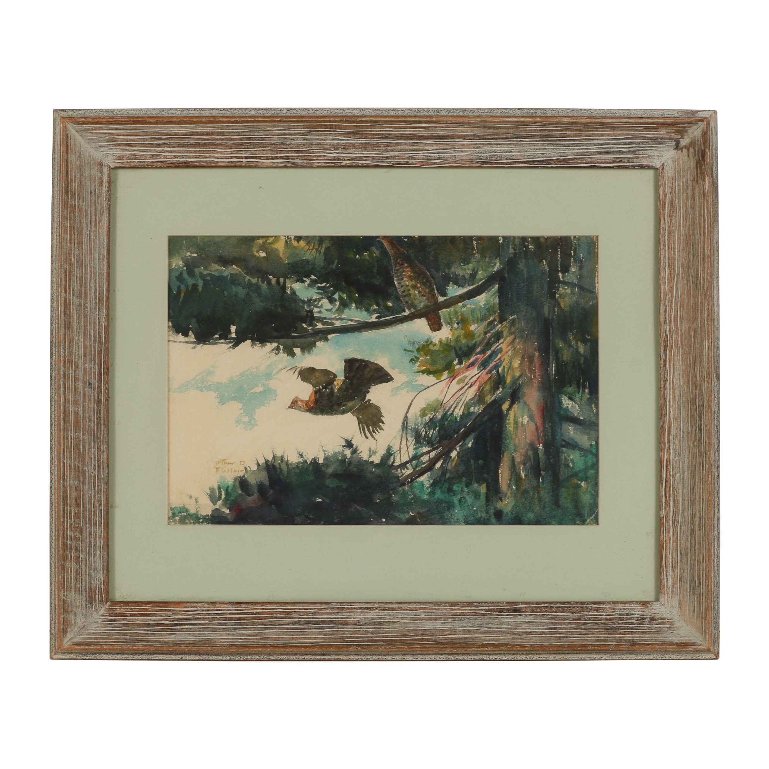 """Arthur D. Fuller Watercolor Painting """"Two in the Pines"""""""