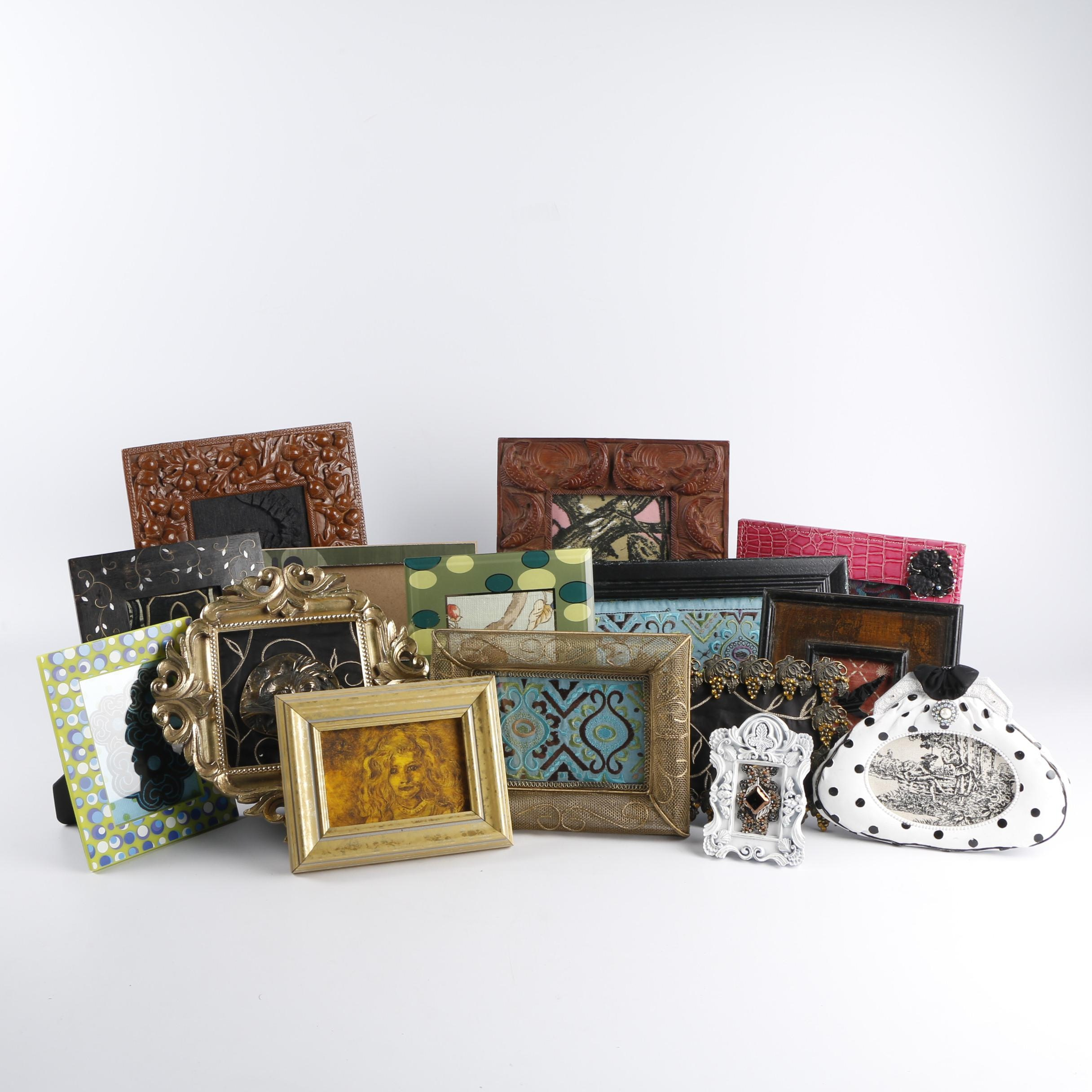 Framed Textiles and Found Objects in Eclectic Tabletop Frames