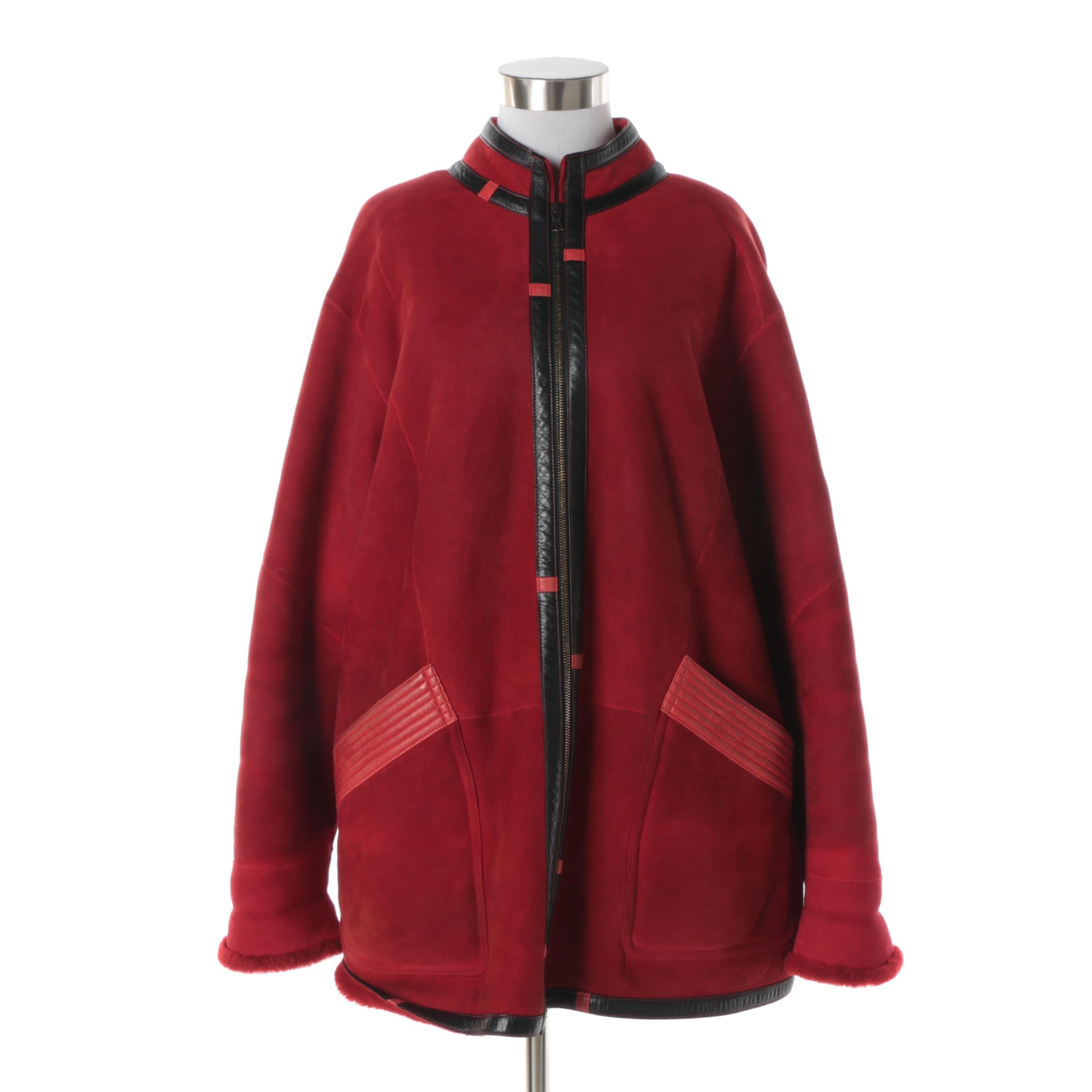 Women's Red Suede Coat with Dyed Sheepskin Lining