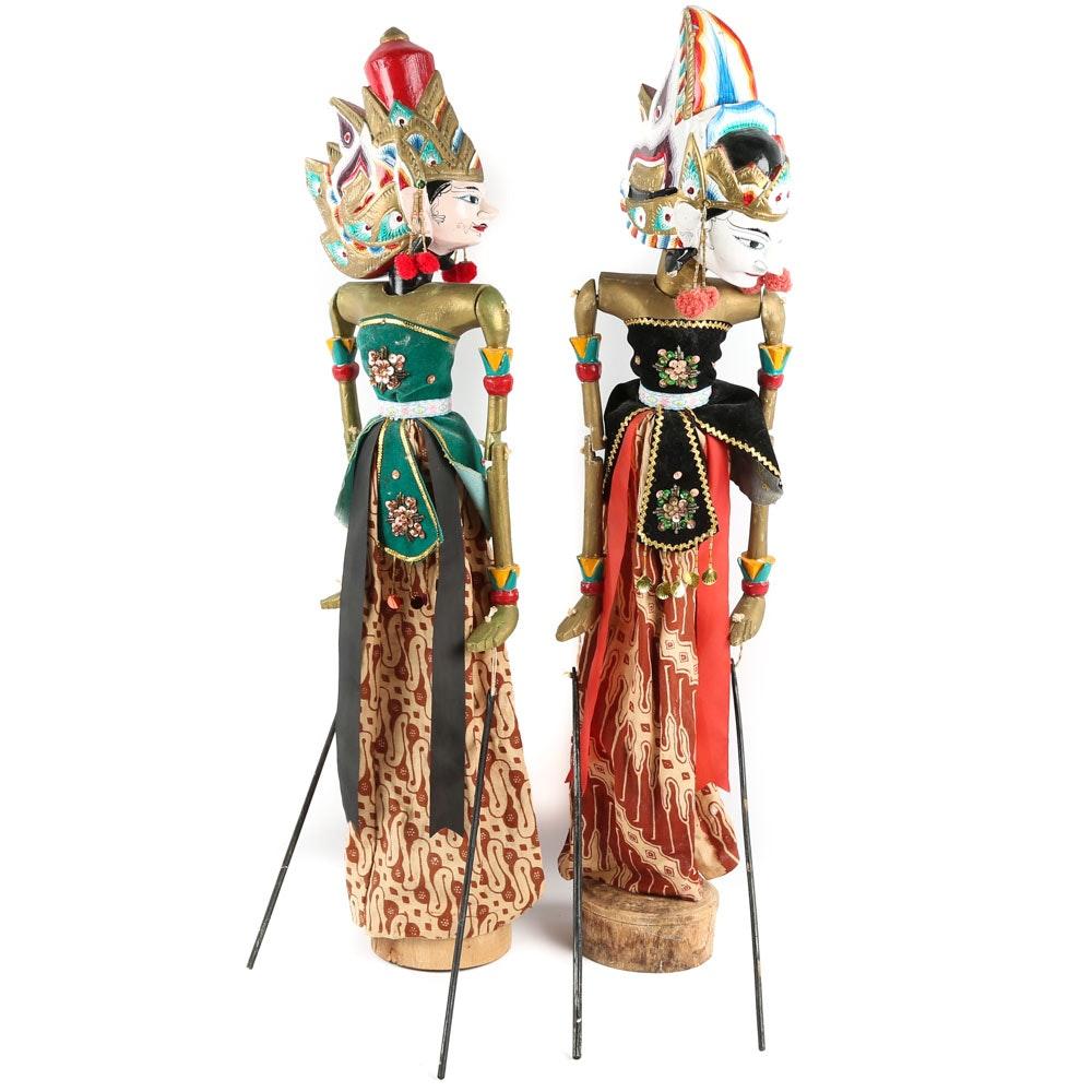 Wood Carved Wayang Golek Rod Puppets