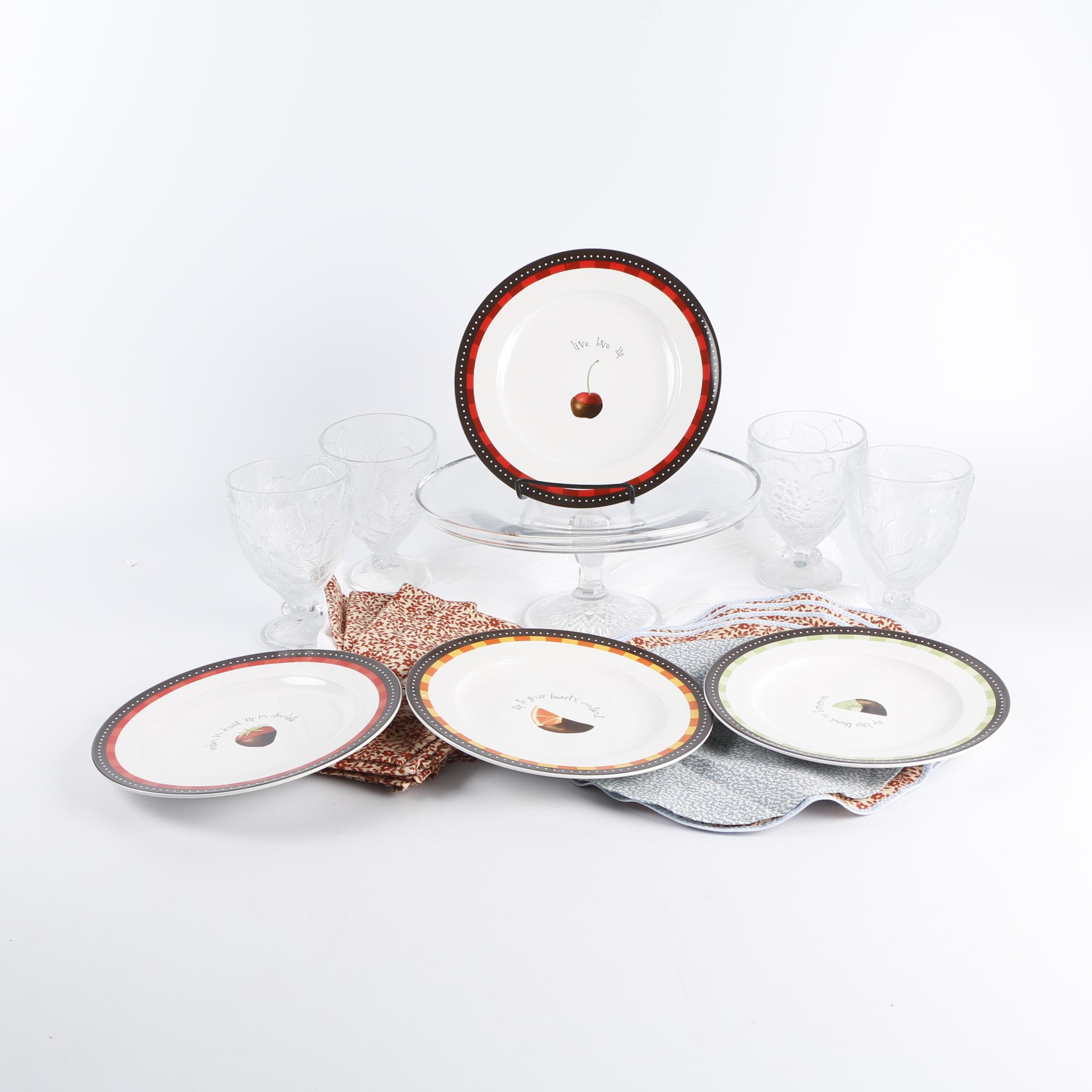"Tableware and Glassware including Oneida ""Chocolate Dipped"" Dessert Plates"