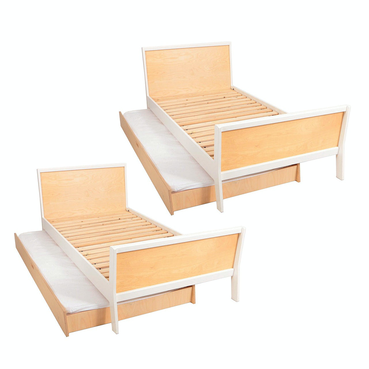 "Pair of Oeuf ""Sparrow"" Birch Trundle Beds"