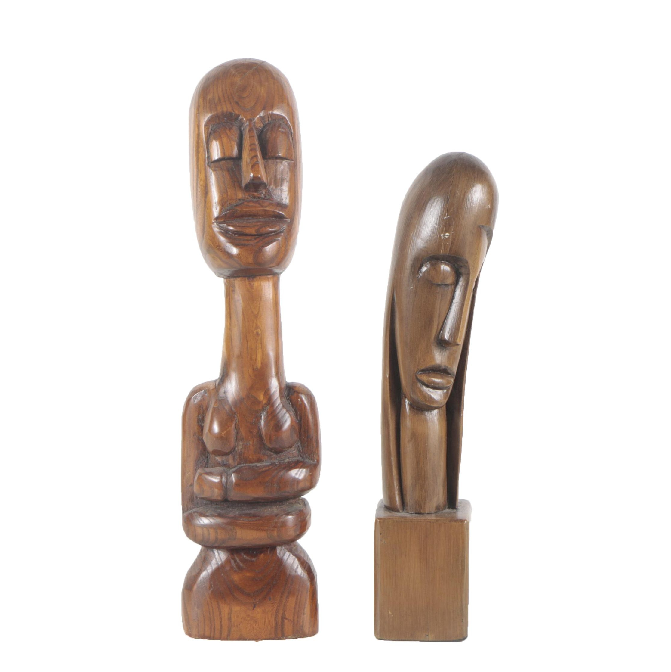 Mid 20th Century Carved Wooden Sculptures