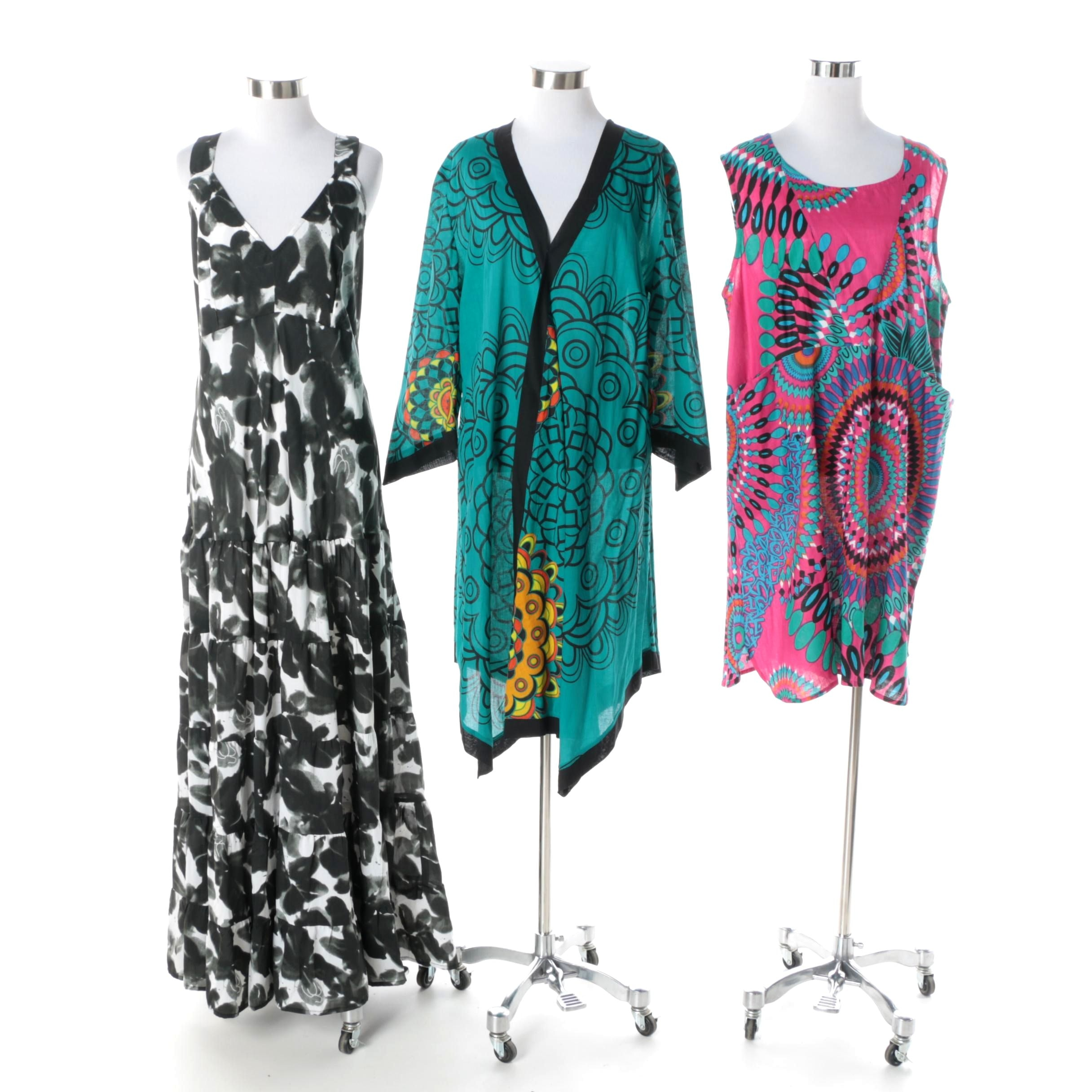 Aller Simplement Dresses Including Black and White Painterly Floral Tiered Maxi