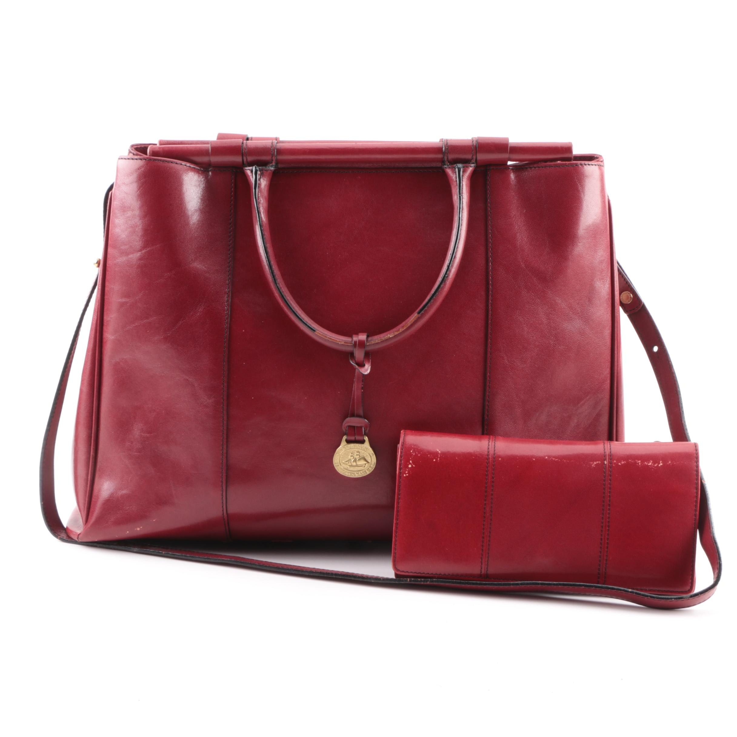 Brahmin Red Leather Satchel with Coordinating Wallet