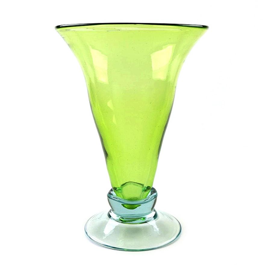 Hand Blown Green Glass Vase Ebth