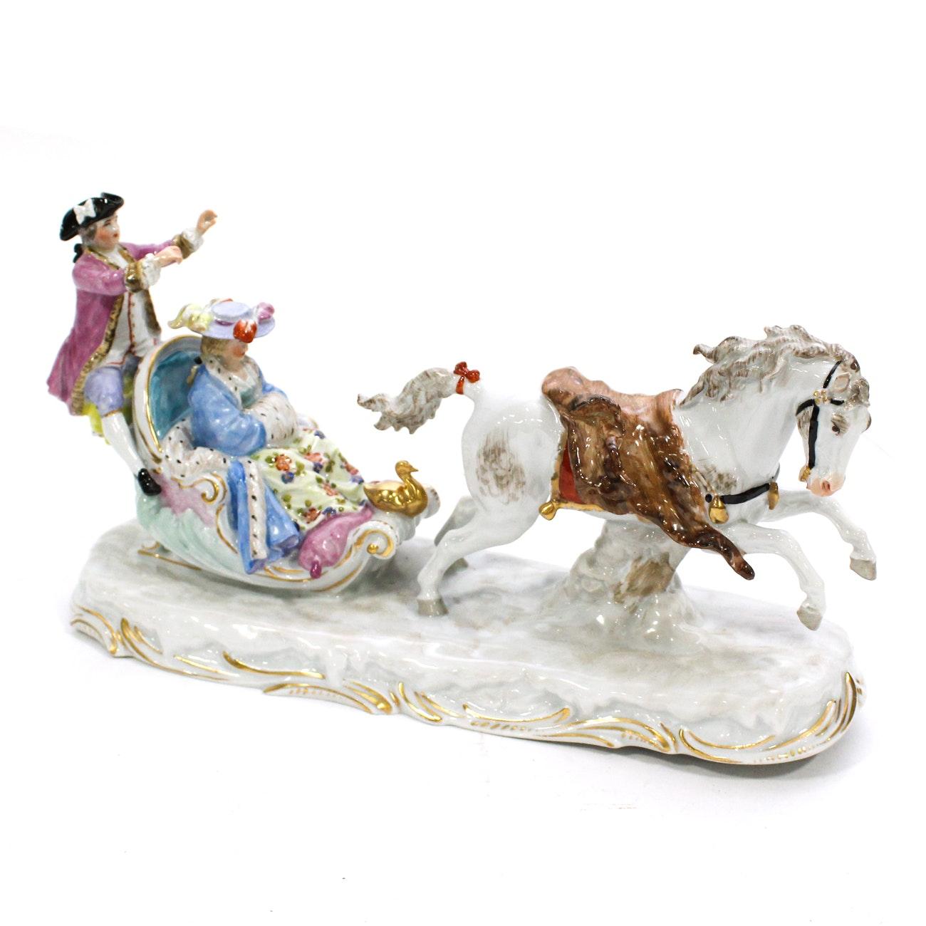 Dresden (Potschappel) Porcelain Model of a Sleigh Ride, 20th Century