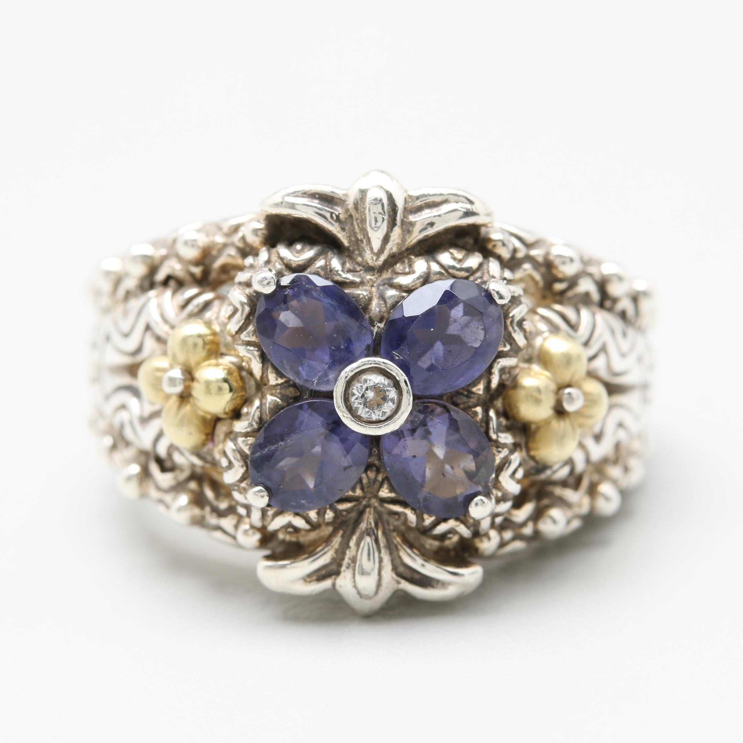 Bixby Sterling Silver Iolite and White Sapphire Floral Ring with 18K Gold Accent