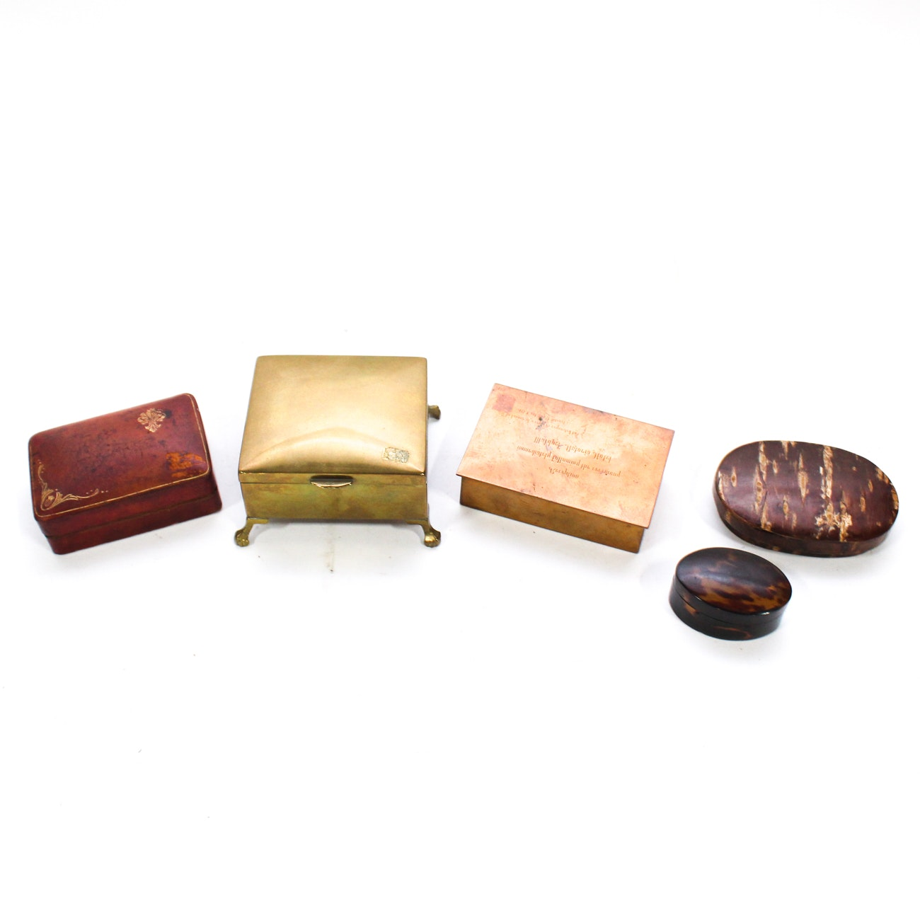 Collection of Brass and Leather Boxes, 20th Century