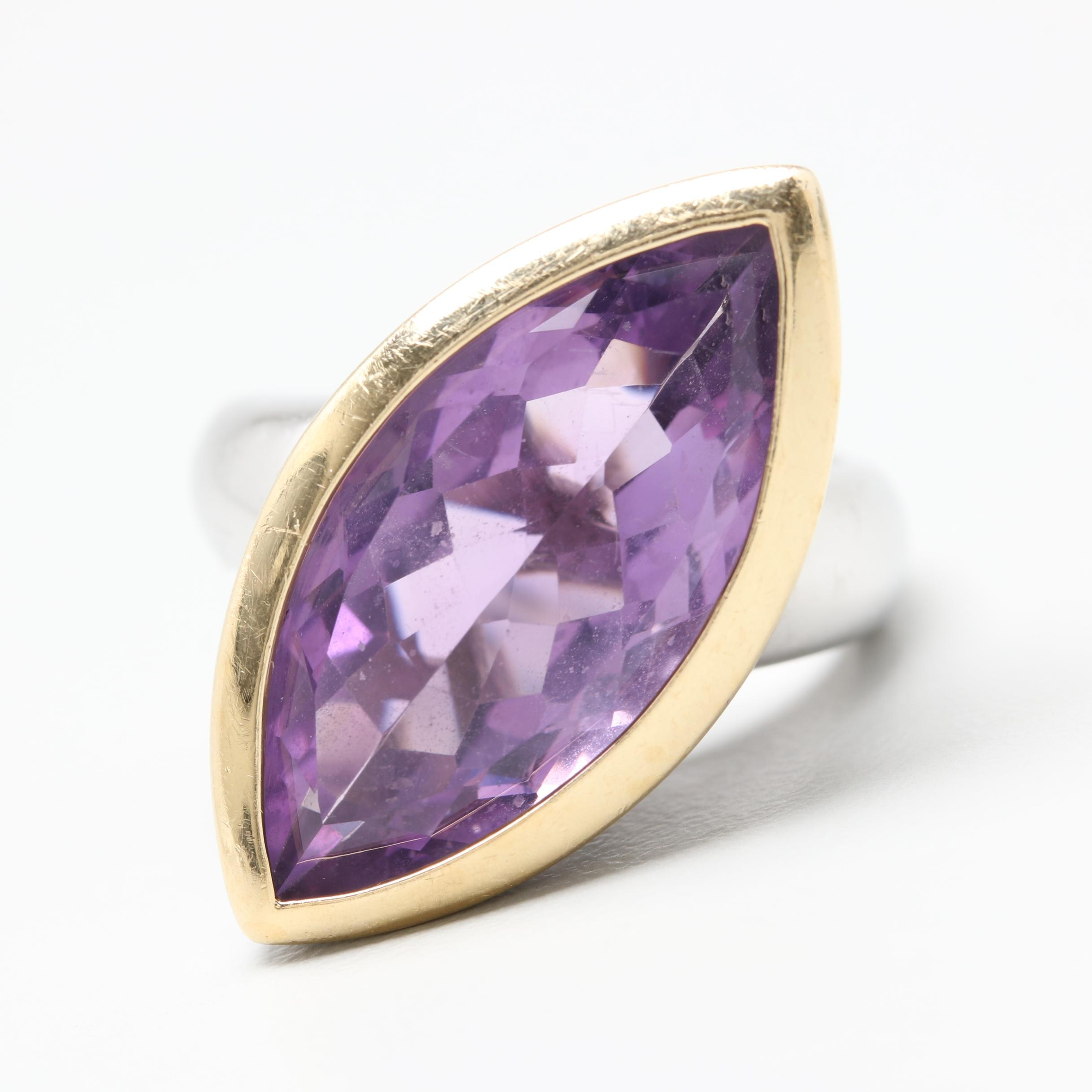 Sterling Silver Amethyst Solitaire Ring with 18K Yellow Gold