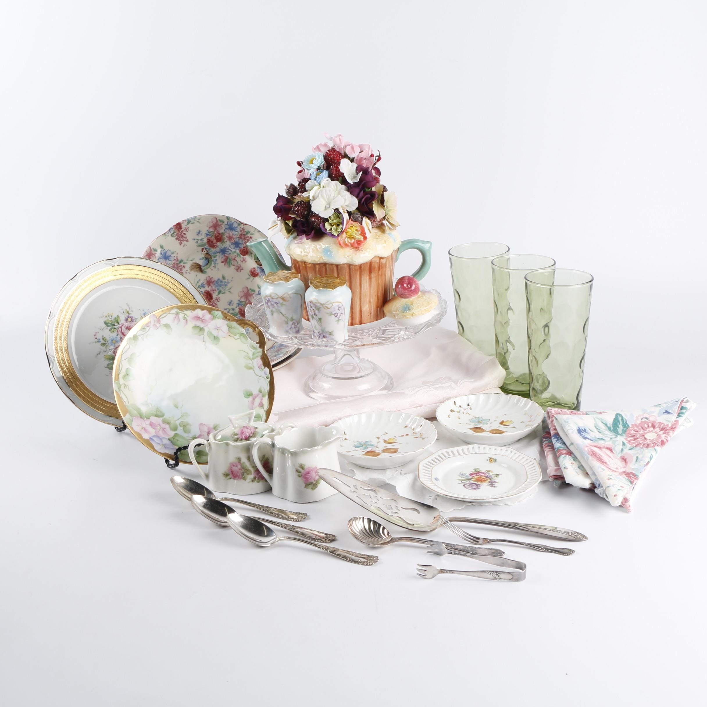 """Johnson Bros """"Chicken Chintz"""" Luncheon Plates with Other Table Settings"""