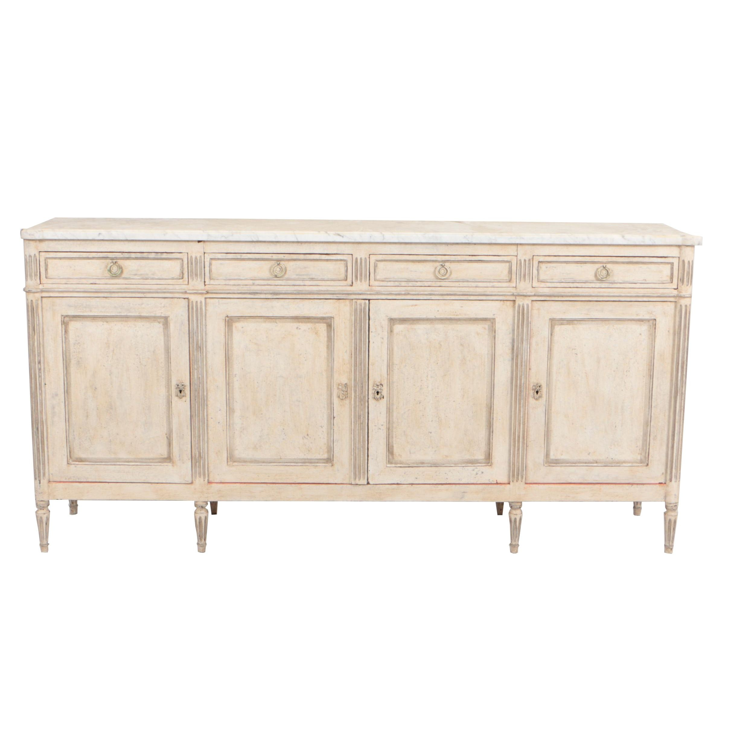 Circa 1930 Louis XVI Style Painted Enfilade with Marble Top