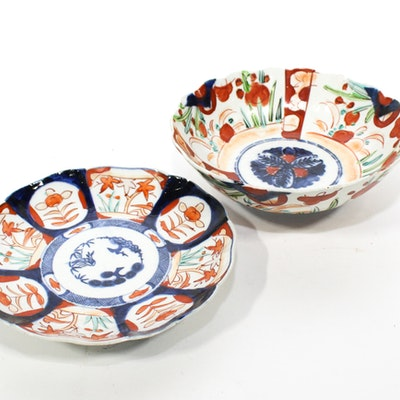 Antique Japanese Imari Bowl and Plate