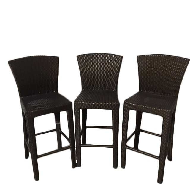 Dedon Metal Framed Resin Wicker Patio Barstools ...