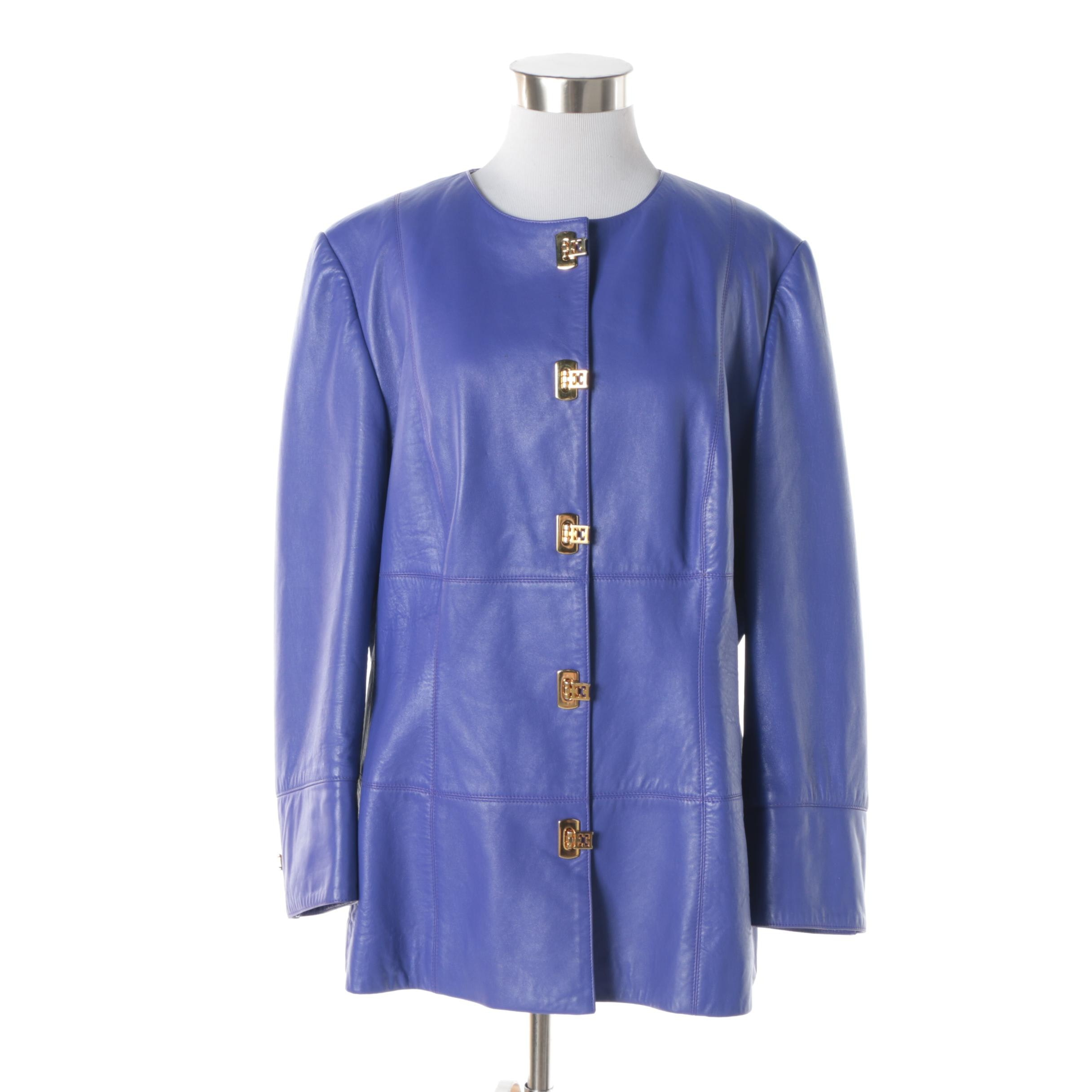 Women's Escada Margaretha Ley Violet Leather Jacket