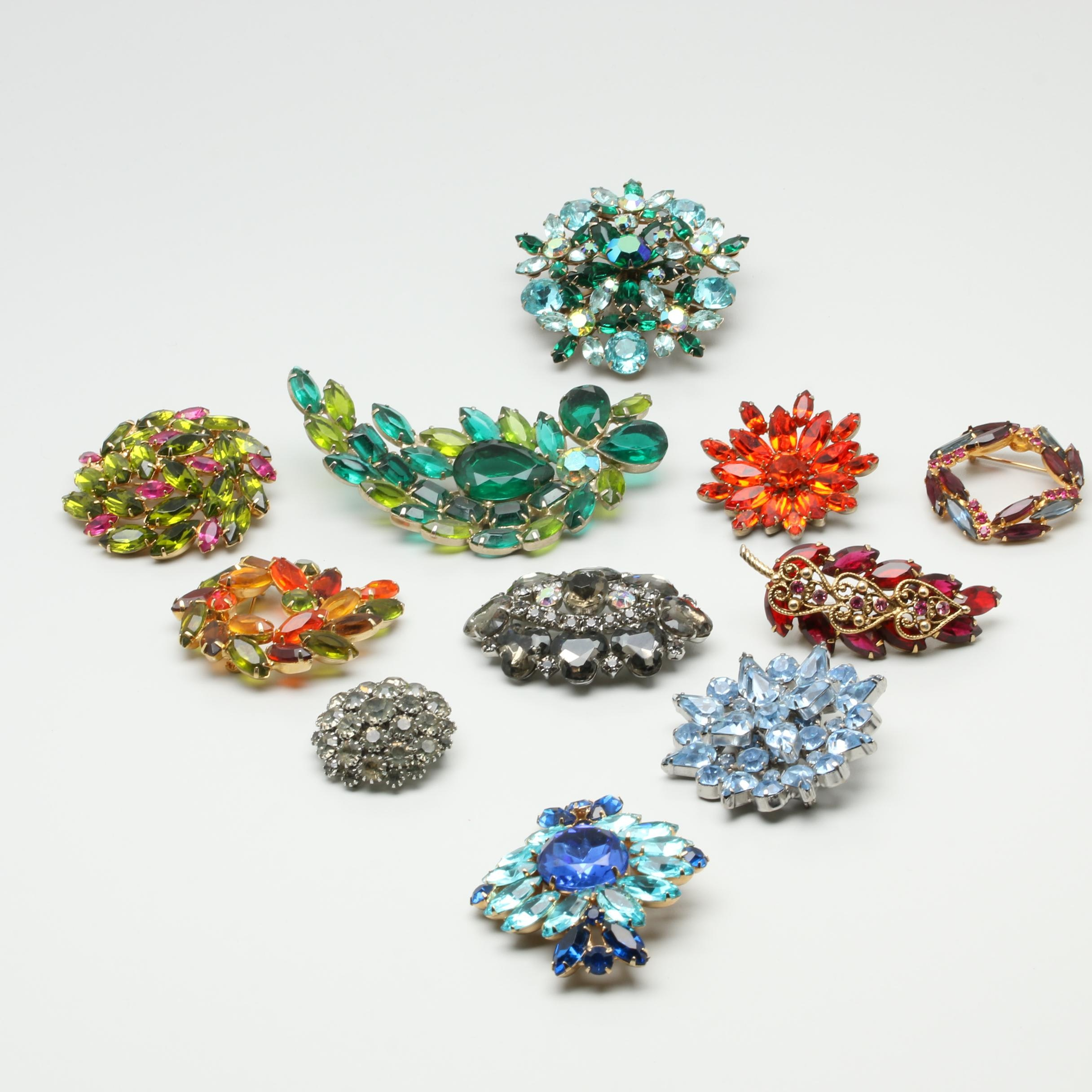 Collection of Vintage Foil Back and Faceted Glass Costume Brooches