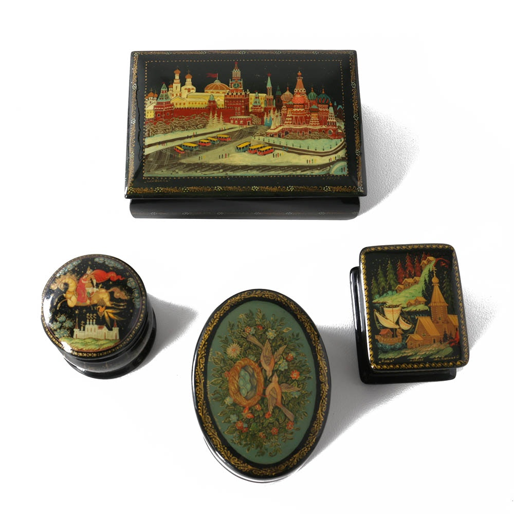 Signed Russian Hand-Painted Black Lacquer Miniature Boxes