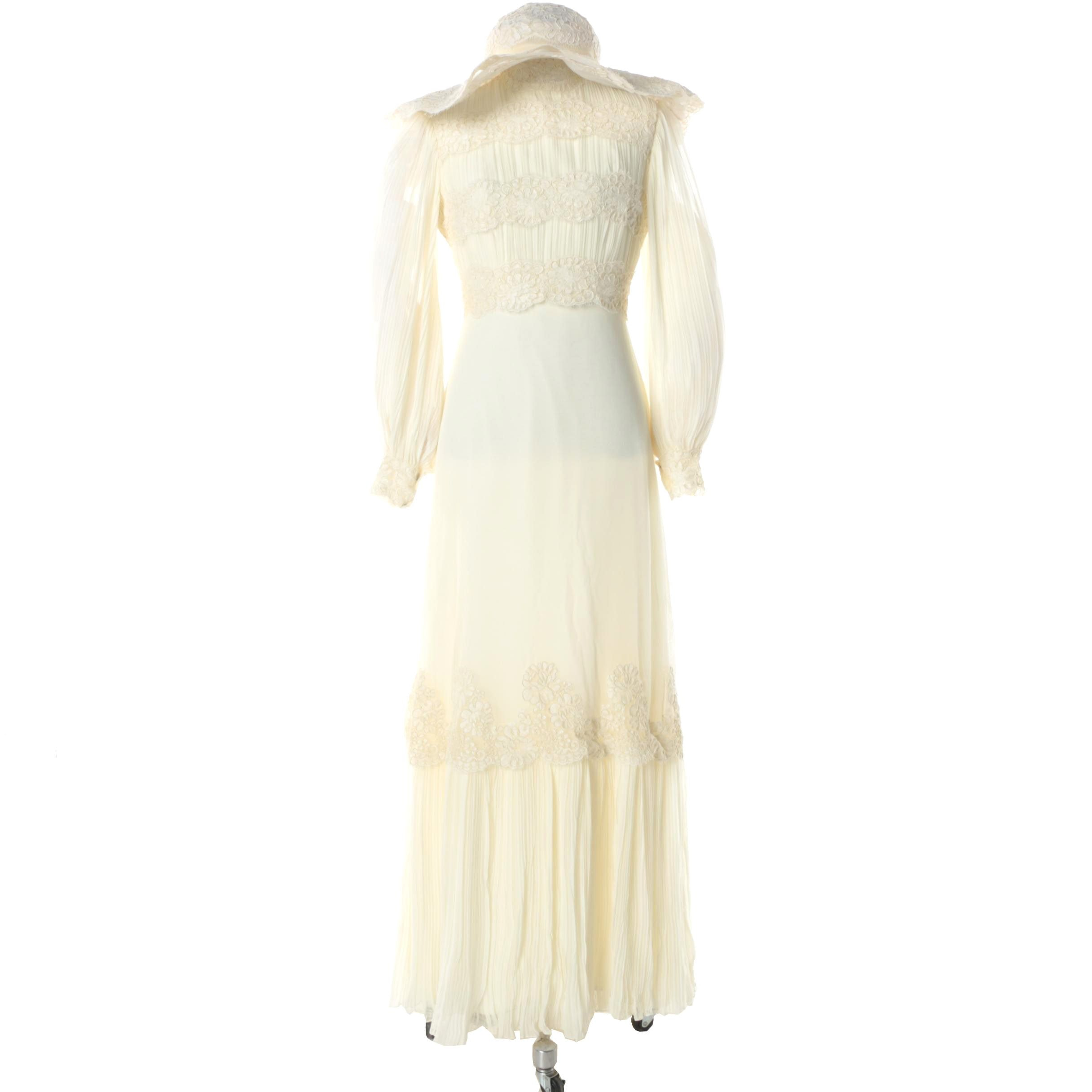 1970s Vintage Saks Fifth Avenue Wedding Dress with Wide Brimmed Hat