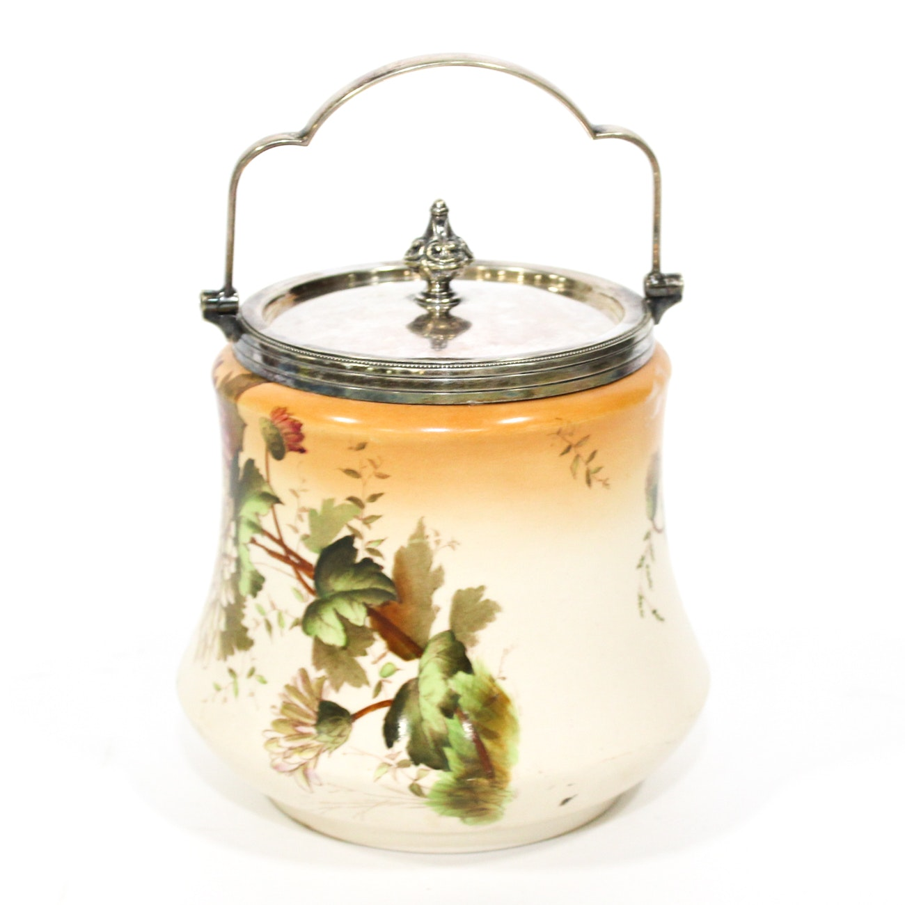 """Silver Plate and Ceramic """"Chrysanthemum"""" Biscuit Barrel By Wiltshaw & Robinson"""
