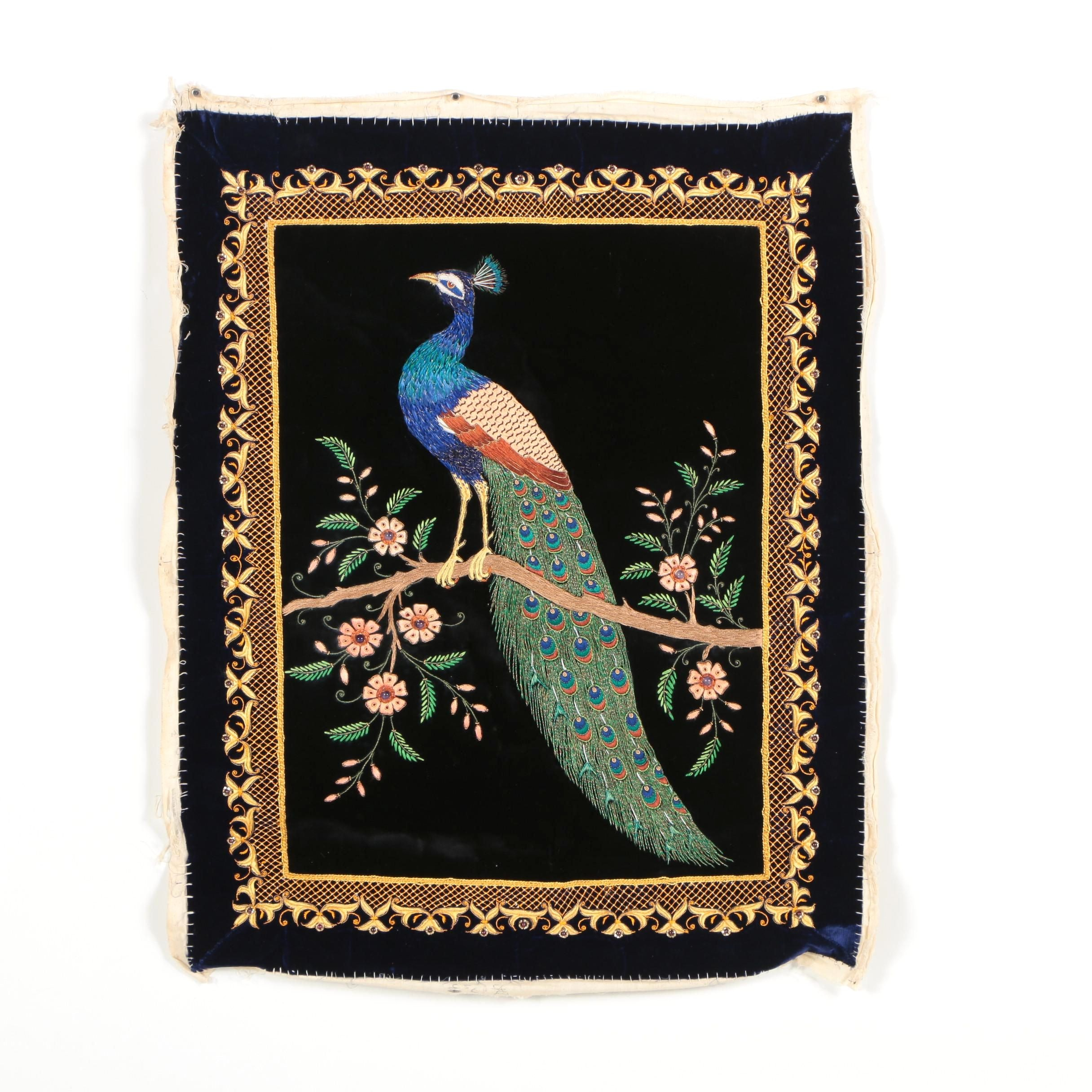 Handmade Embroidered Peacock Textile