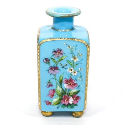 French Enameled and Blue Glass Perfume Bottle, Late 19th Century