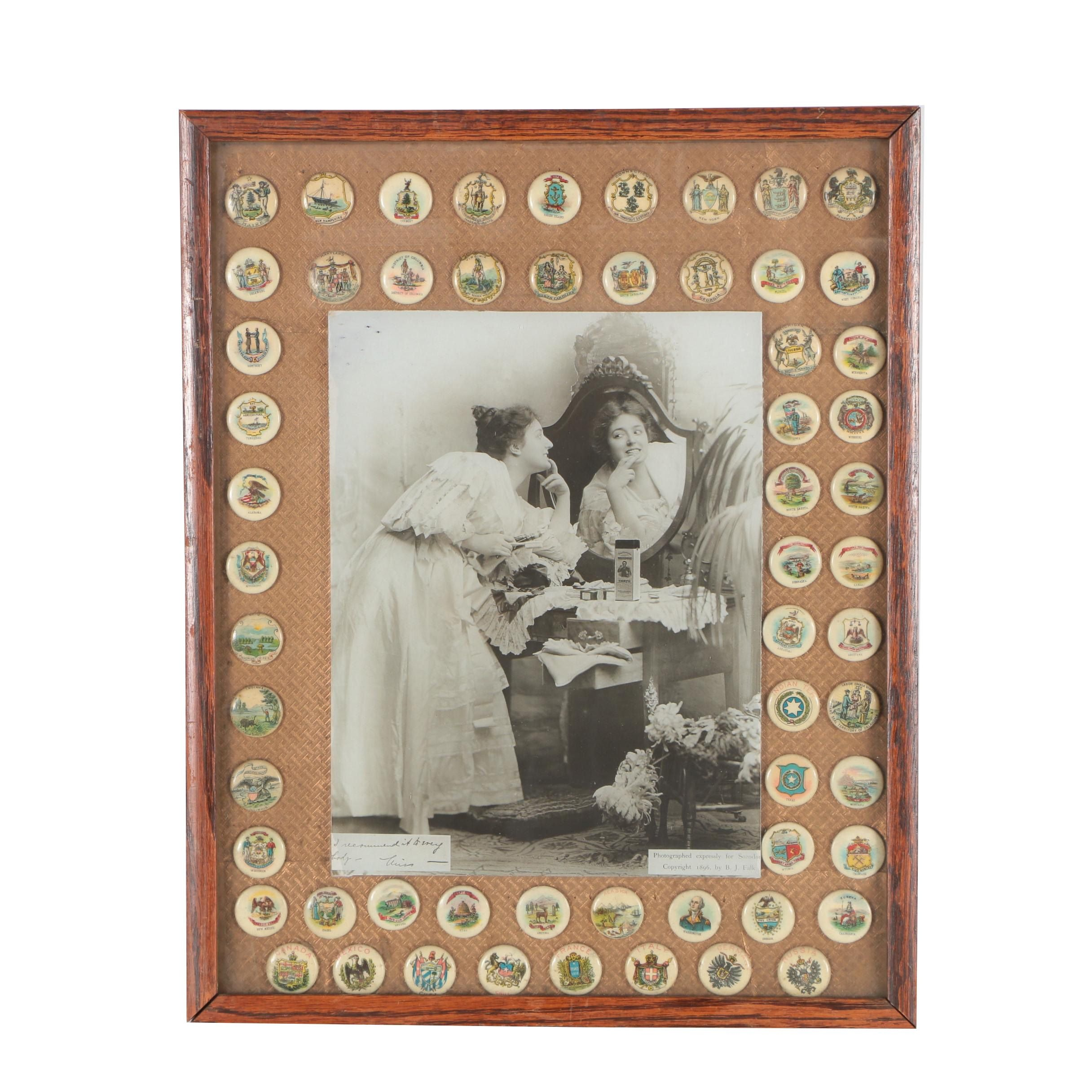 Silver Gelatin Photograph for Sozodont Advertisement and Metal Button Collection