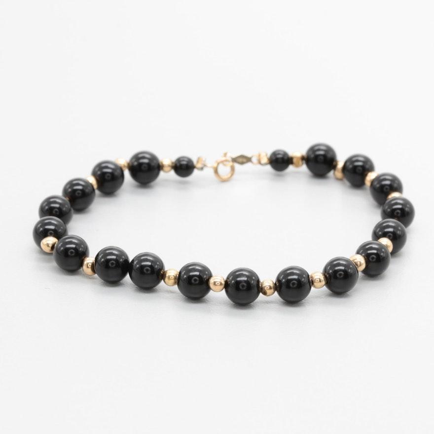 aef32774766b75 14K Yellow Gold Black Onyx Beaded Bracelet; 1x1; 1x1; 1x1. 1 / 4