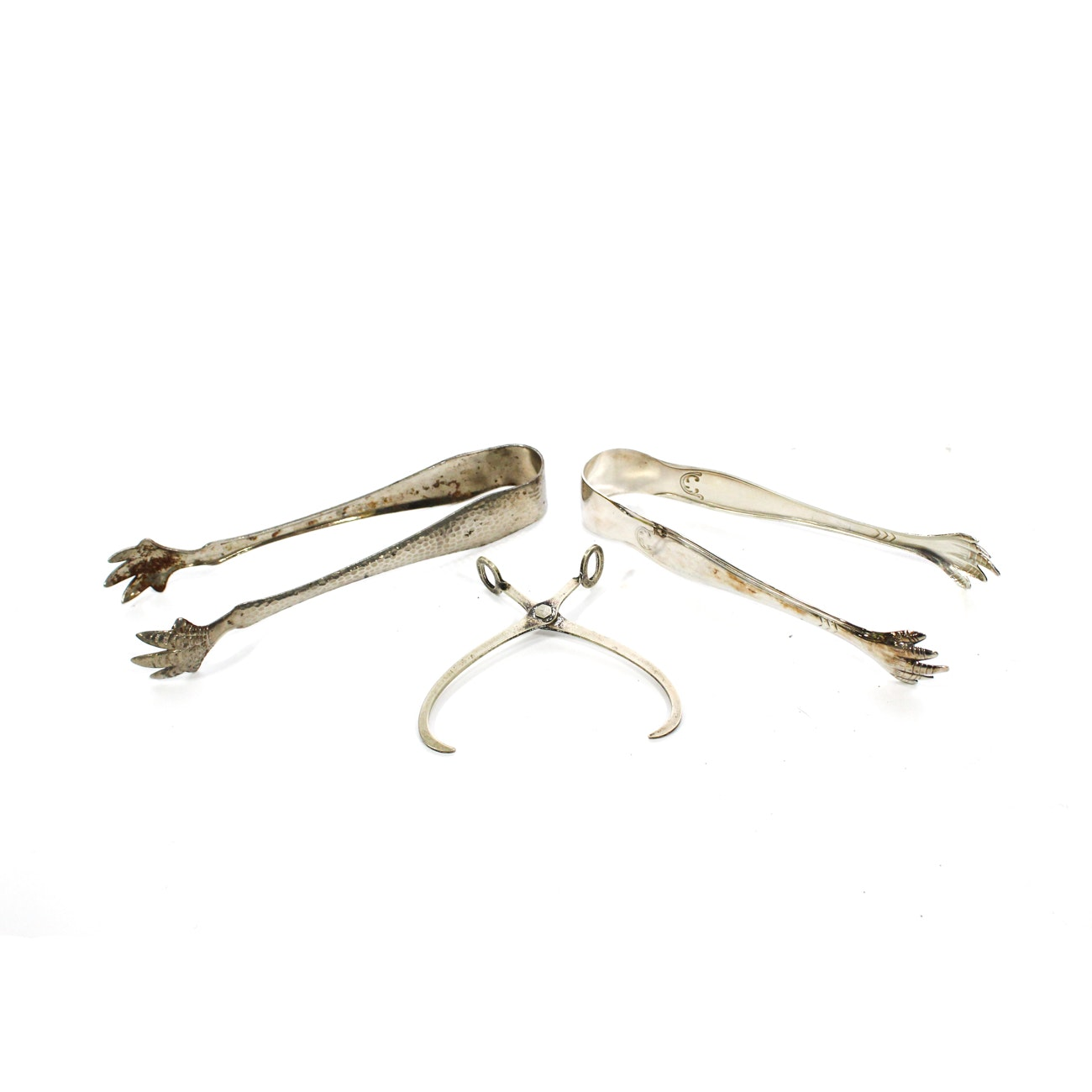 Three Pairs of Silver Plate Ice Tongs, 20th Century