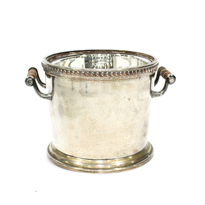 Silver Plate on Copper Two Handle Ice Bucket, 20th Century