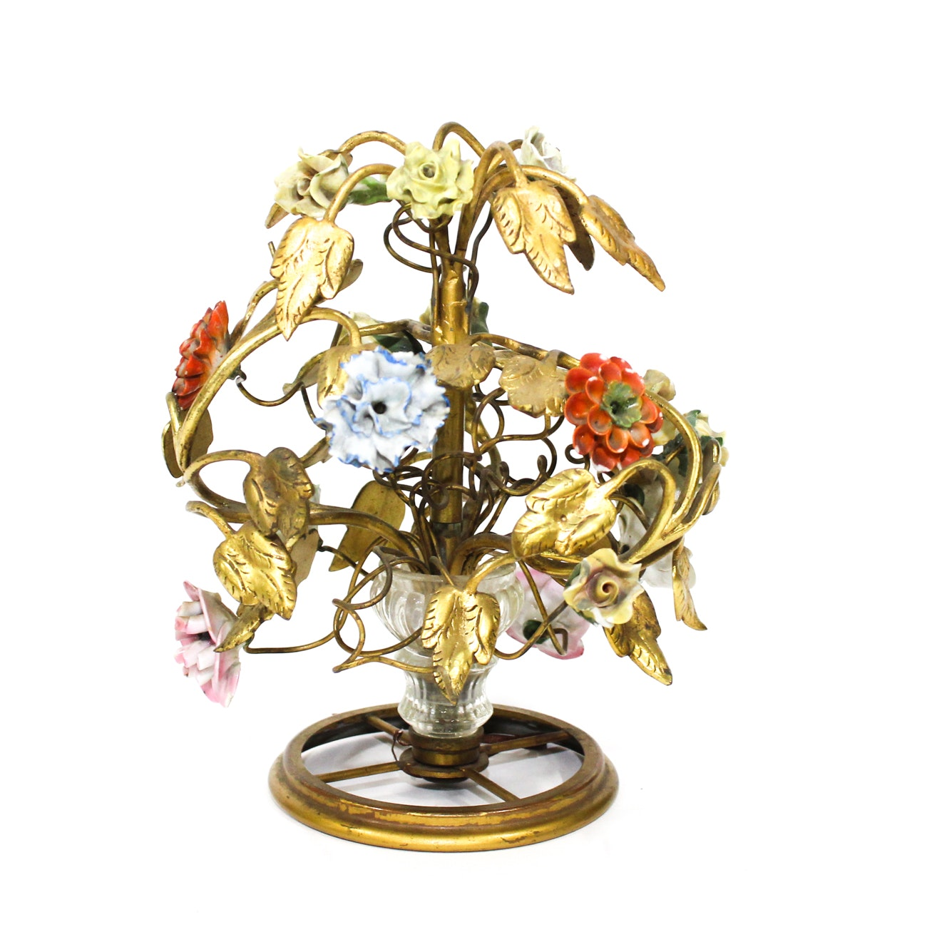 French Gilt-Metal Mounted Porcelain and Glass Floral Centerpiece, 20th Century