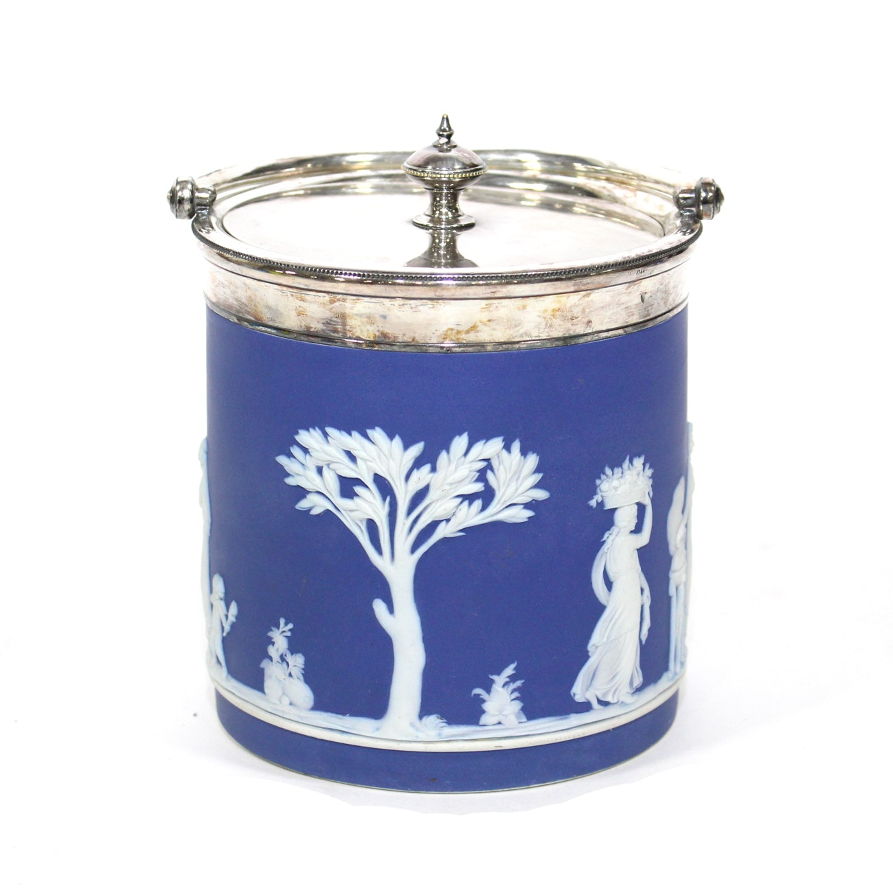 Wedgwood Blue Jasper and Silver Plated Biscuit Barrel, Early 20th Century