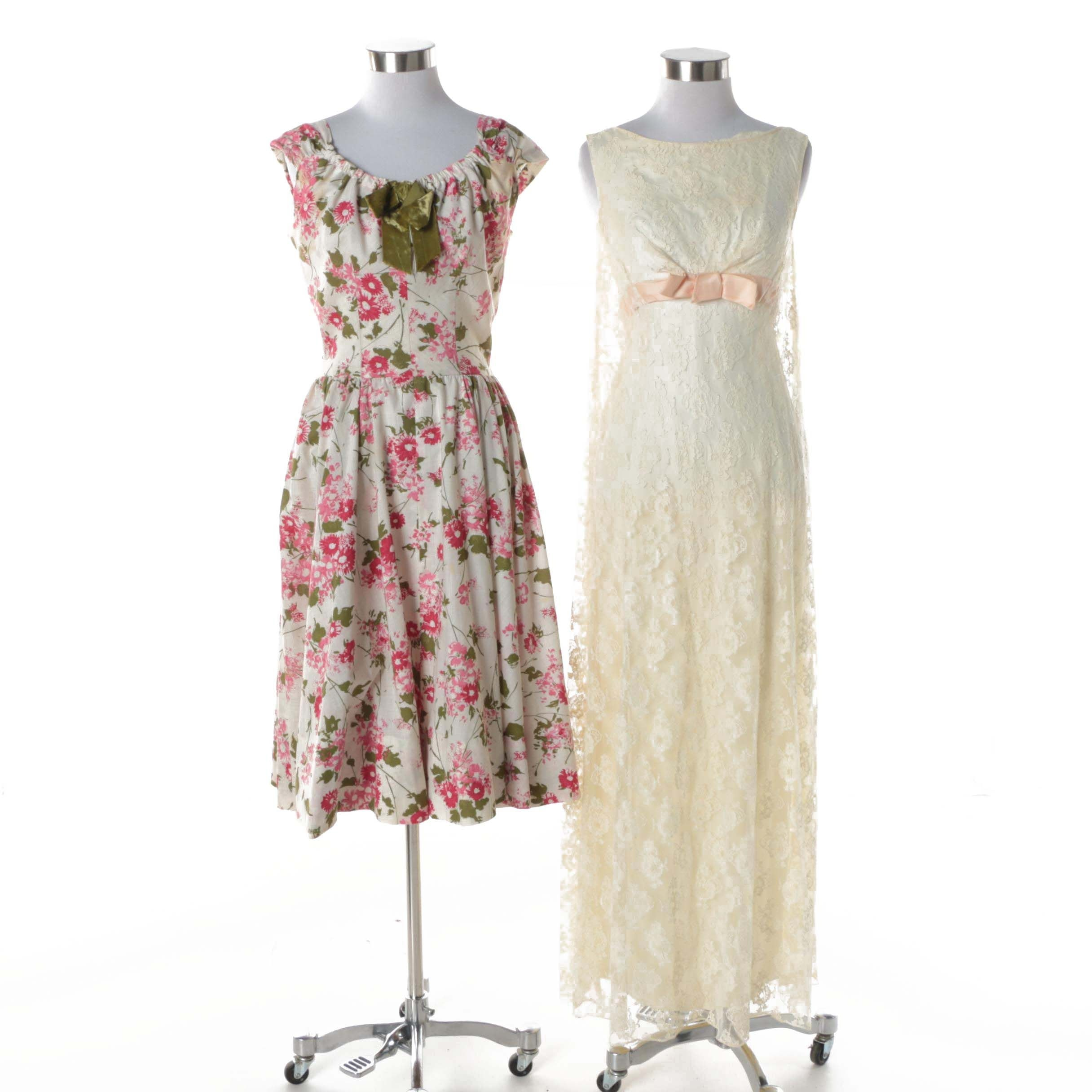 Circa 1960s Vintage Nona Floral Dress with Lace Overlay Sleeveless Gown