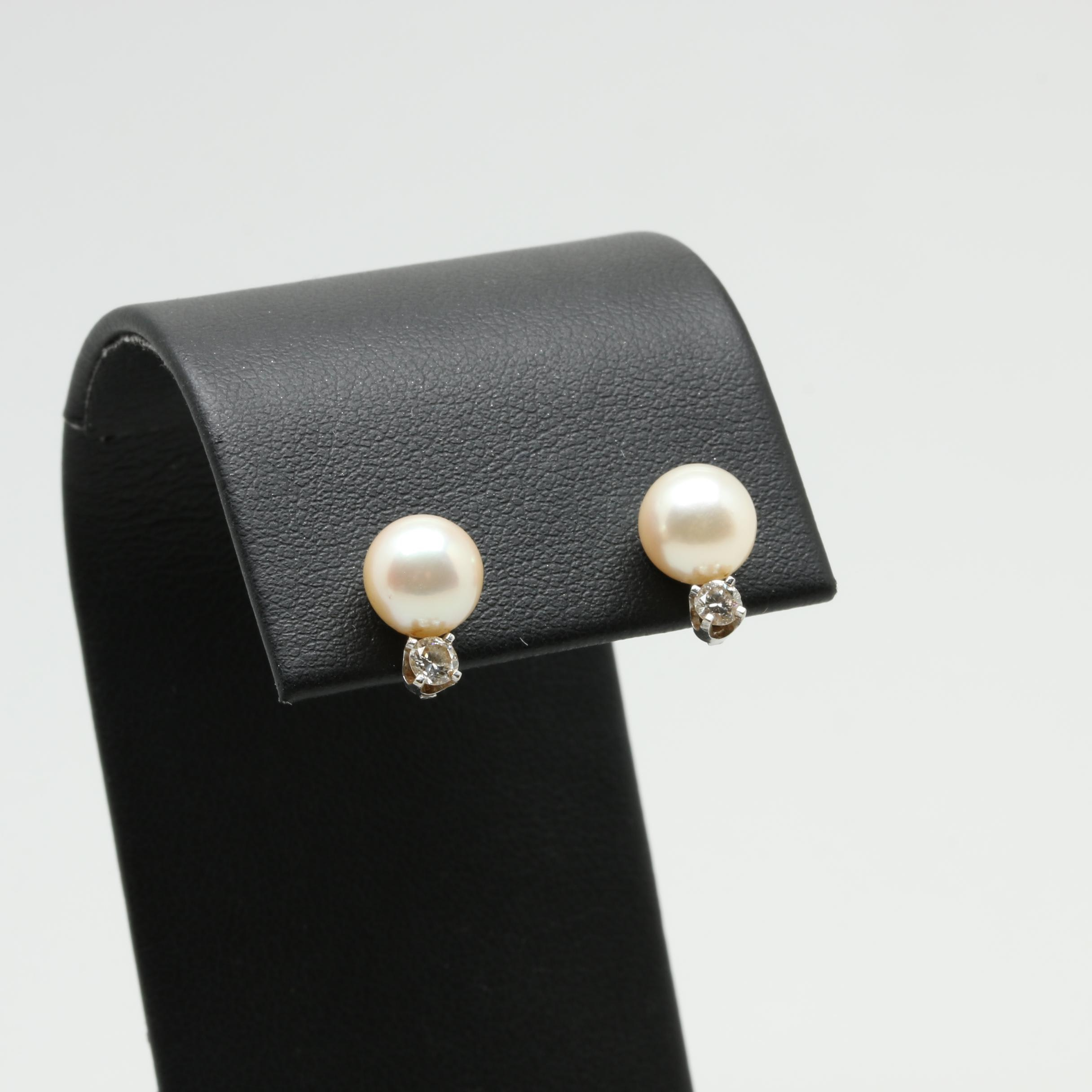 14K White Gold Cultured Pearl and Diamond Stud Earrings