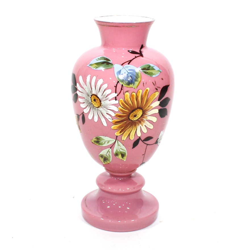 Bristol Pink Glass Floral Decorated Vase, Late 19th Century