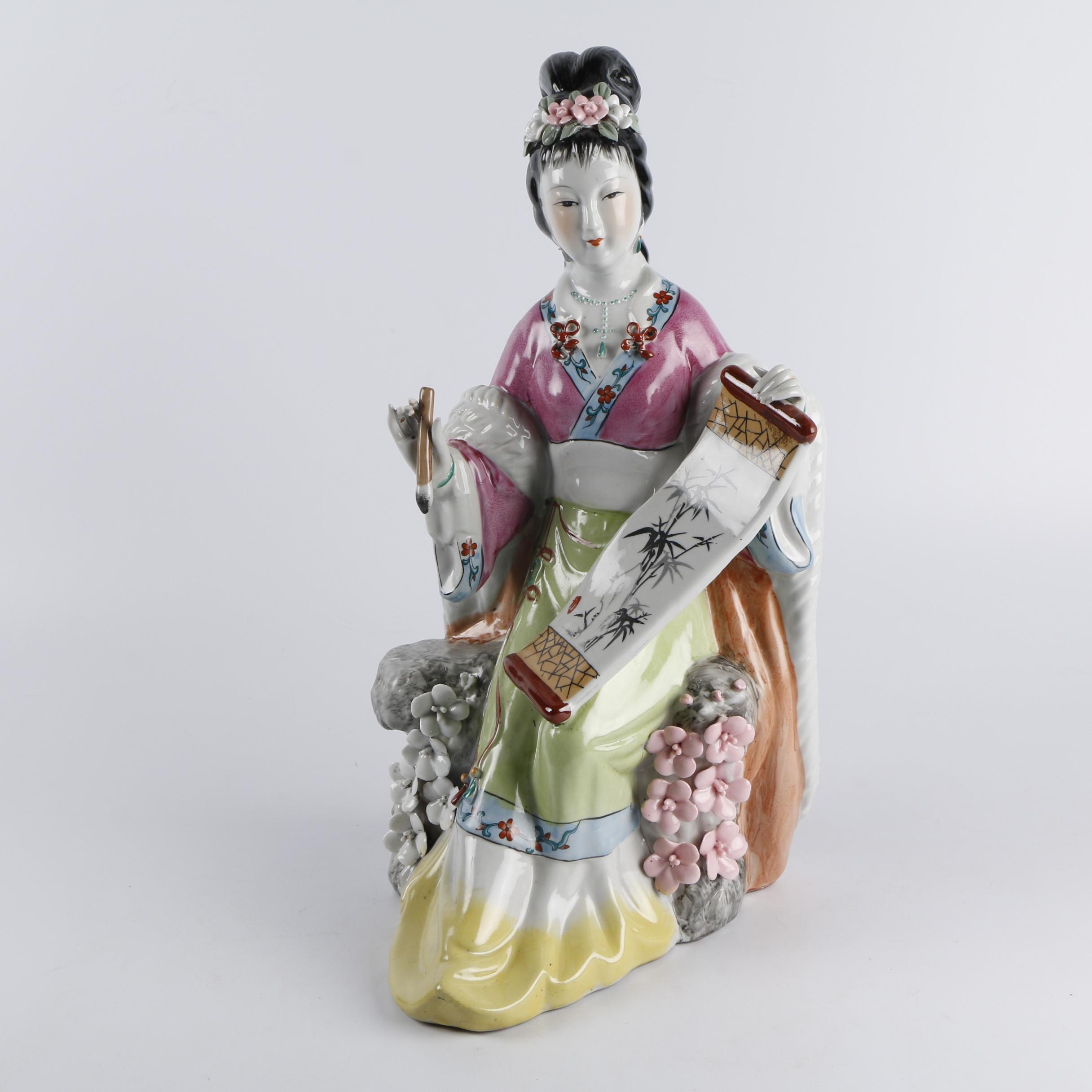 Chinese Shiwan Style Porcelain Figurine of Woman Painting Scroll
