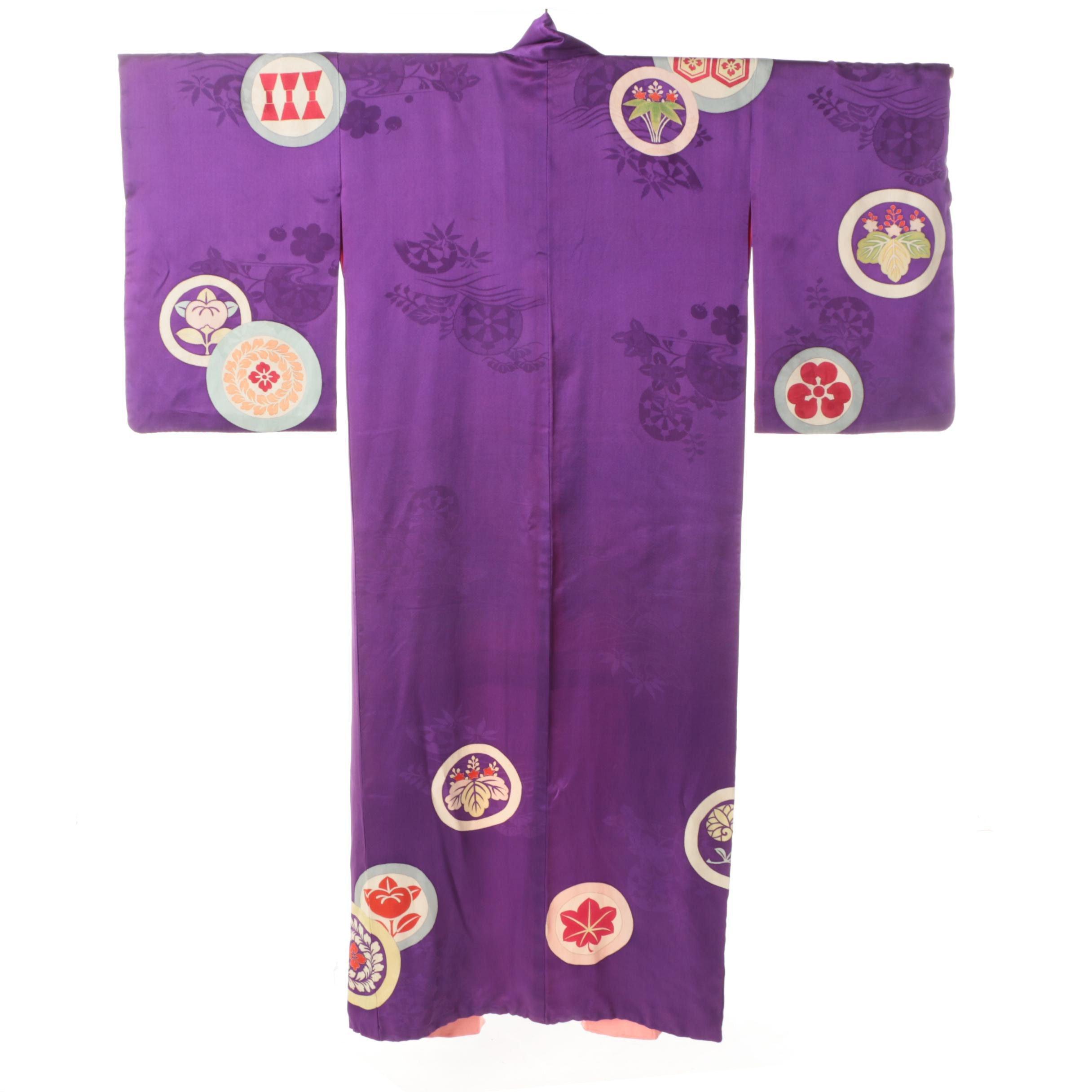 Circa 1920s Vintage Japanese Silk Damask Kimono