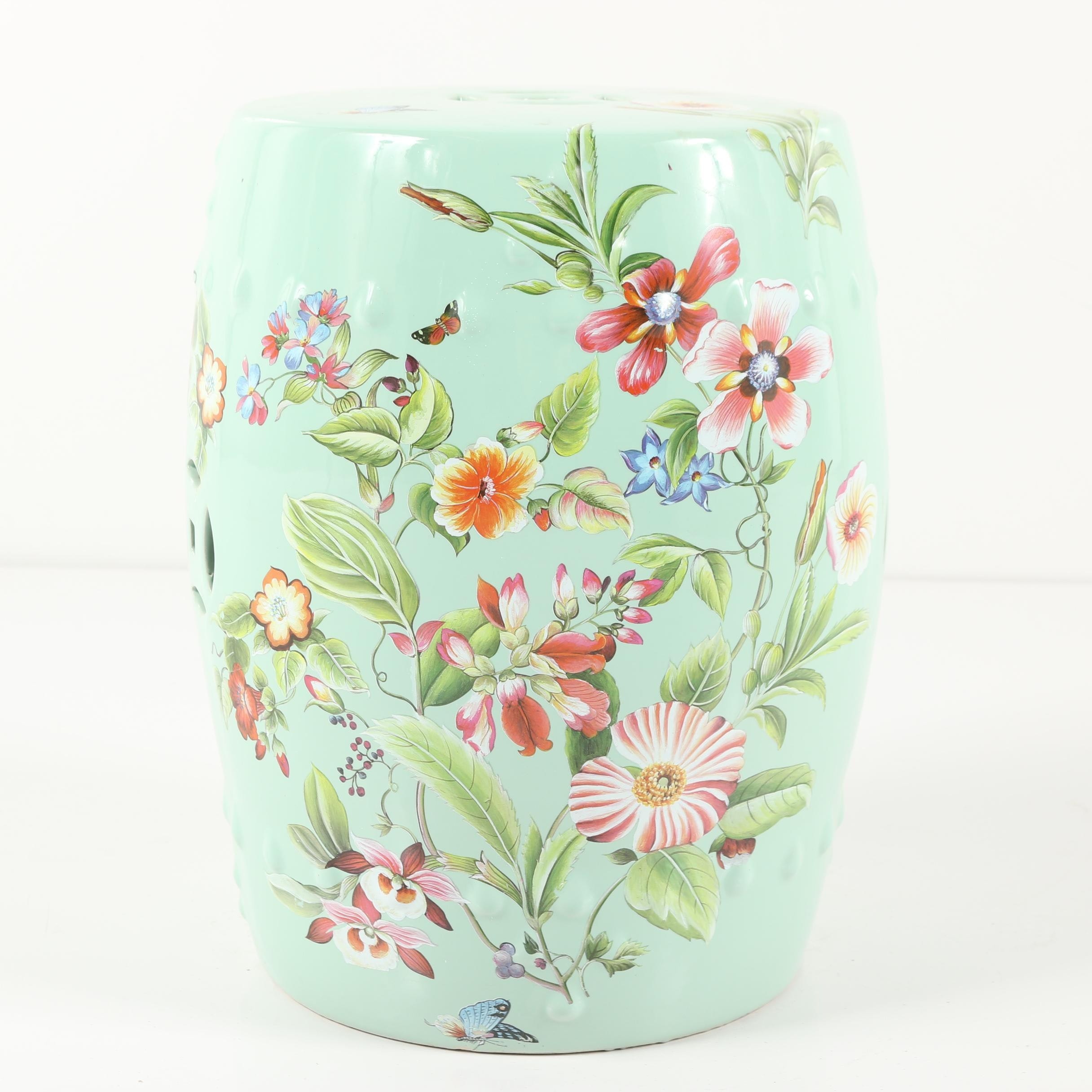 Chinese Teal Butterfly And Flower Motif Ceramic Garden Stool ...