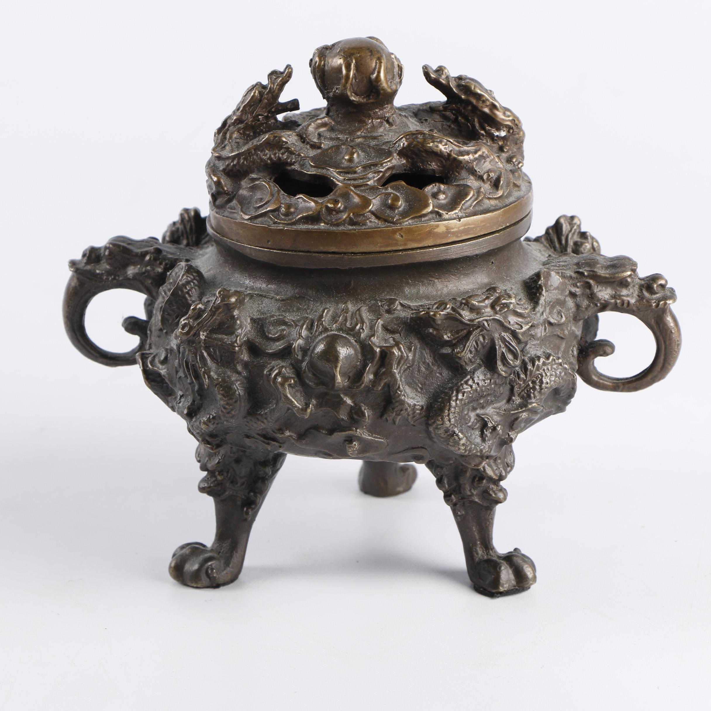 Chinese Dragon Motif Metal Censer